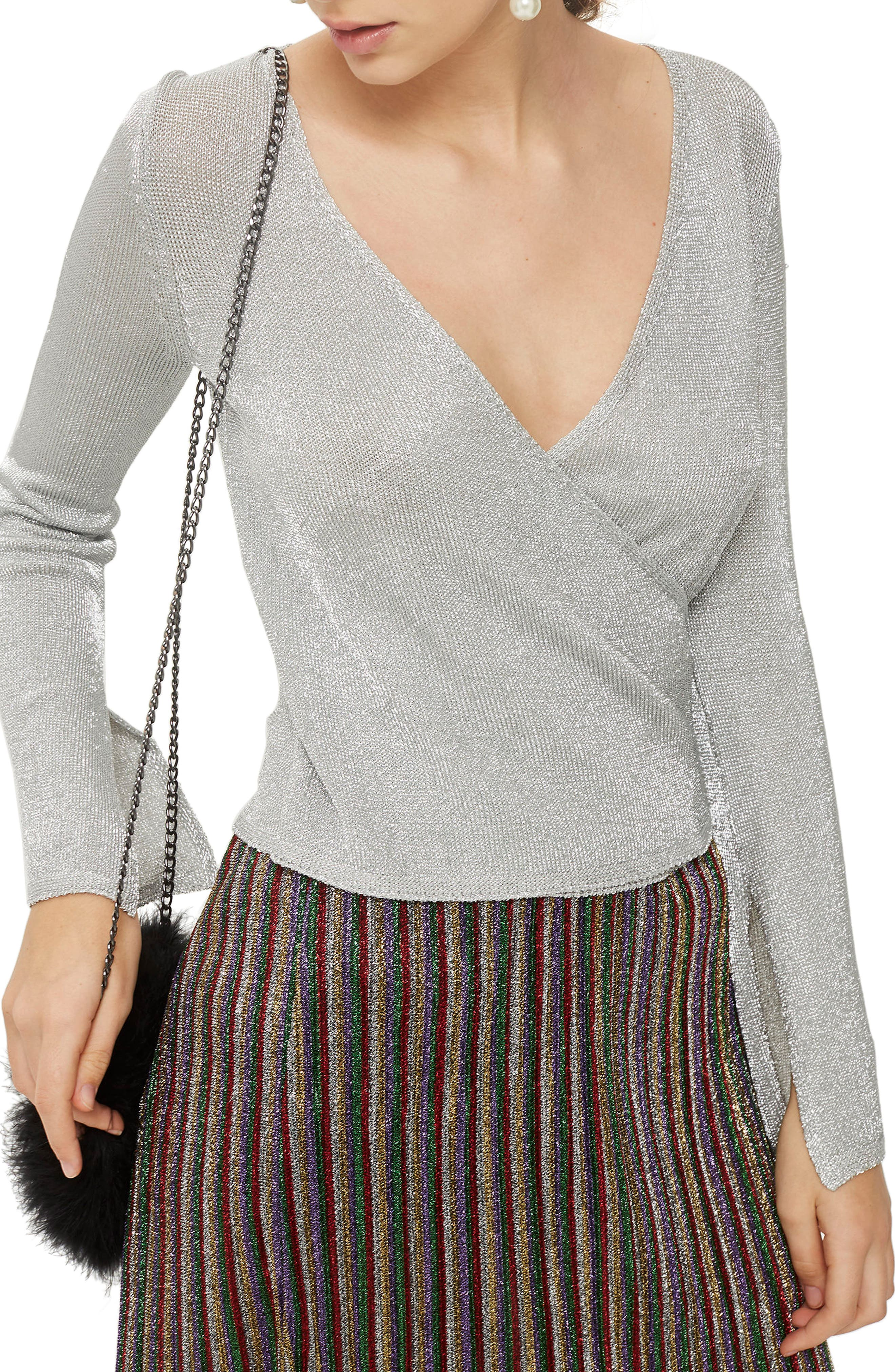 Metal Yarn Wrap Knit Top,                         Main,                         color, Silver