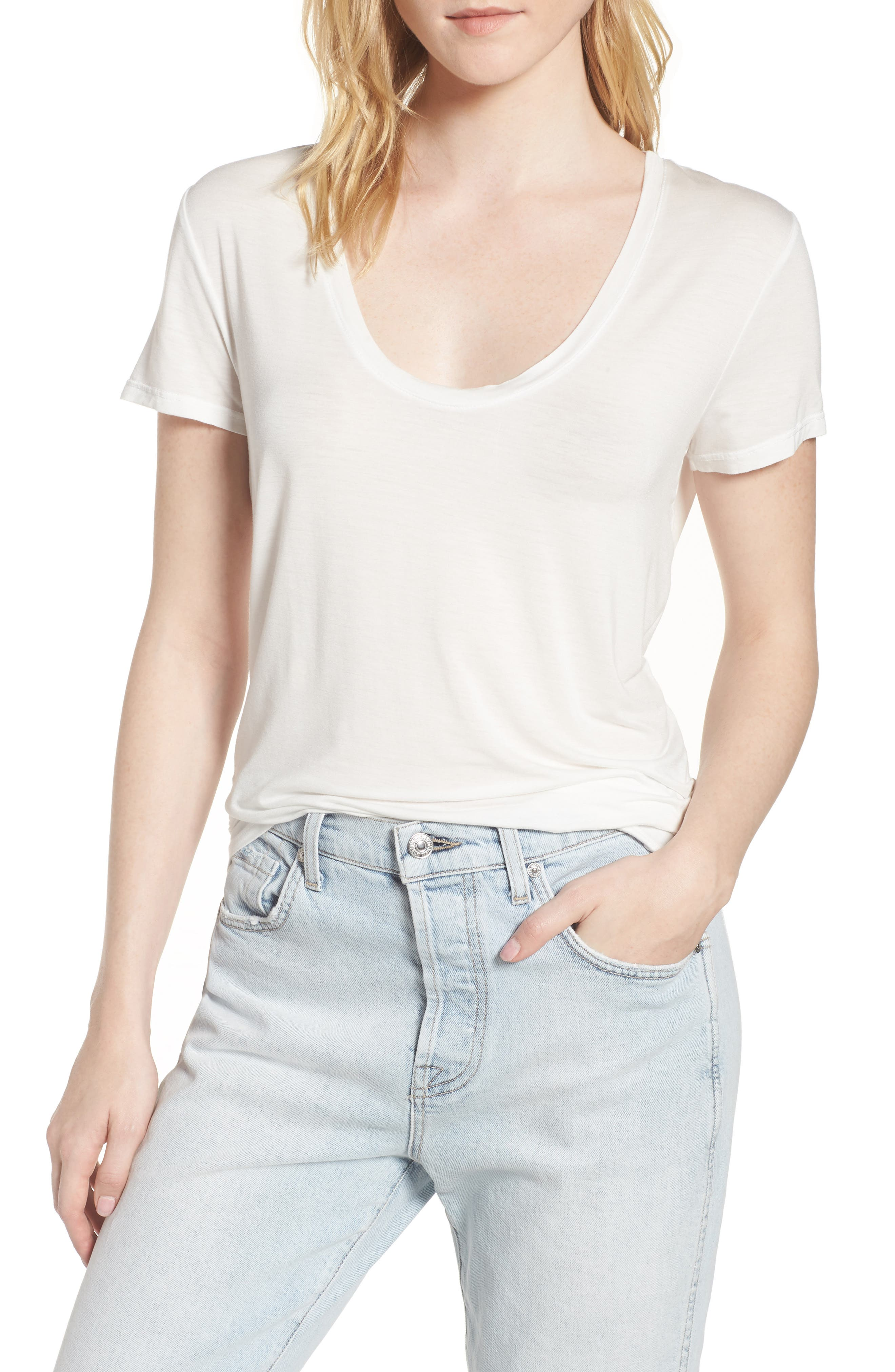 Deep U-Neck Tee,                             Main thumbnail 1, color,                             White