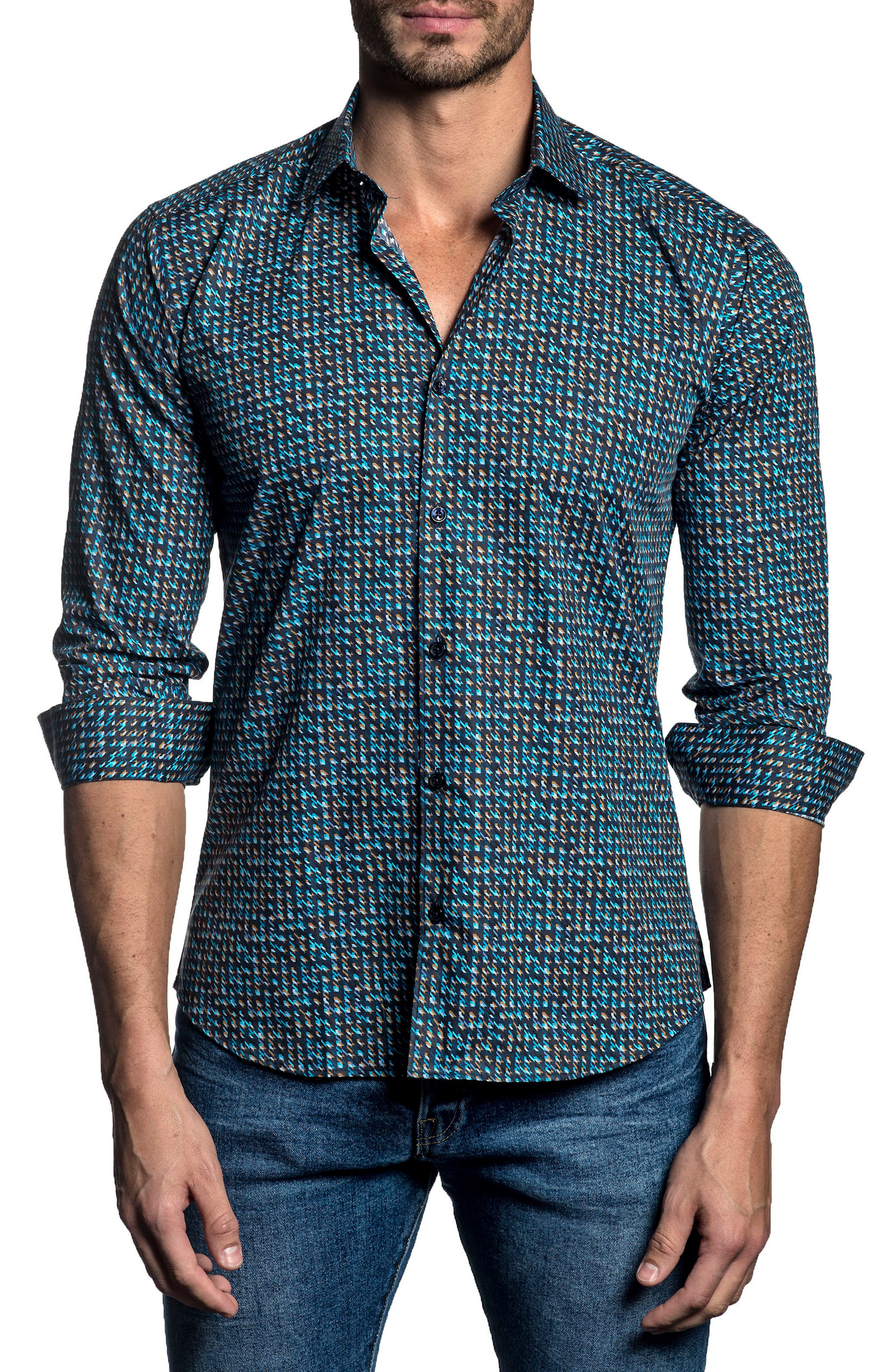 Trim Fit Sport Shirt,                             Main thumbnail 1, color,                             Navy/ Turquoise Print