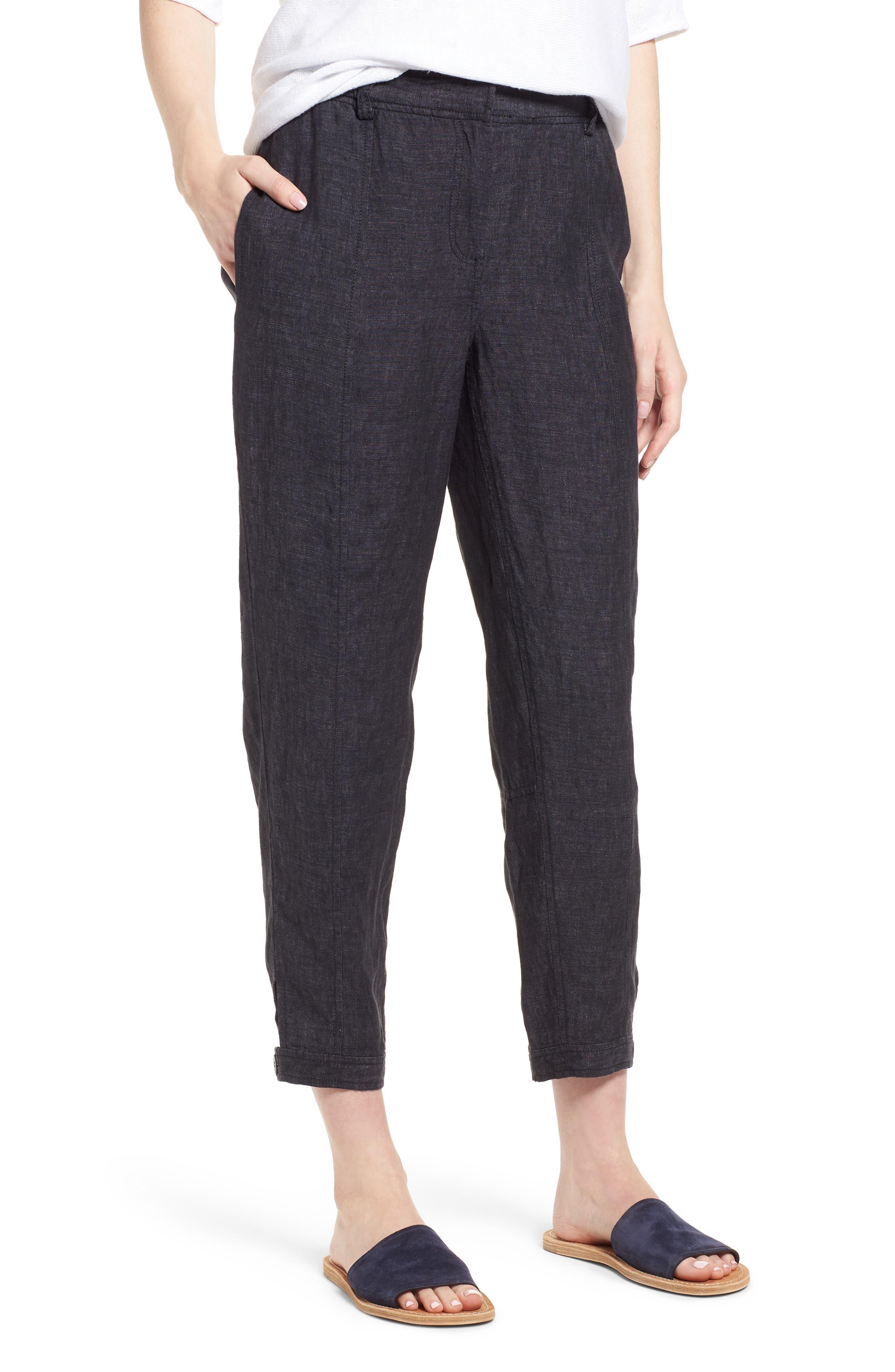 Easy Ankle Organic Linen Pants,                         Main,                         color, Denim