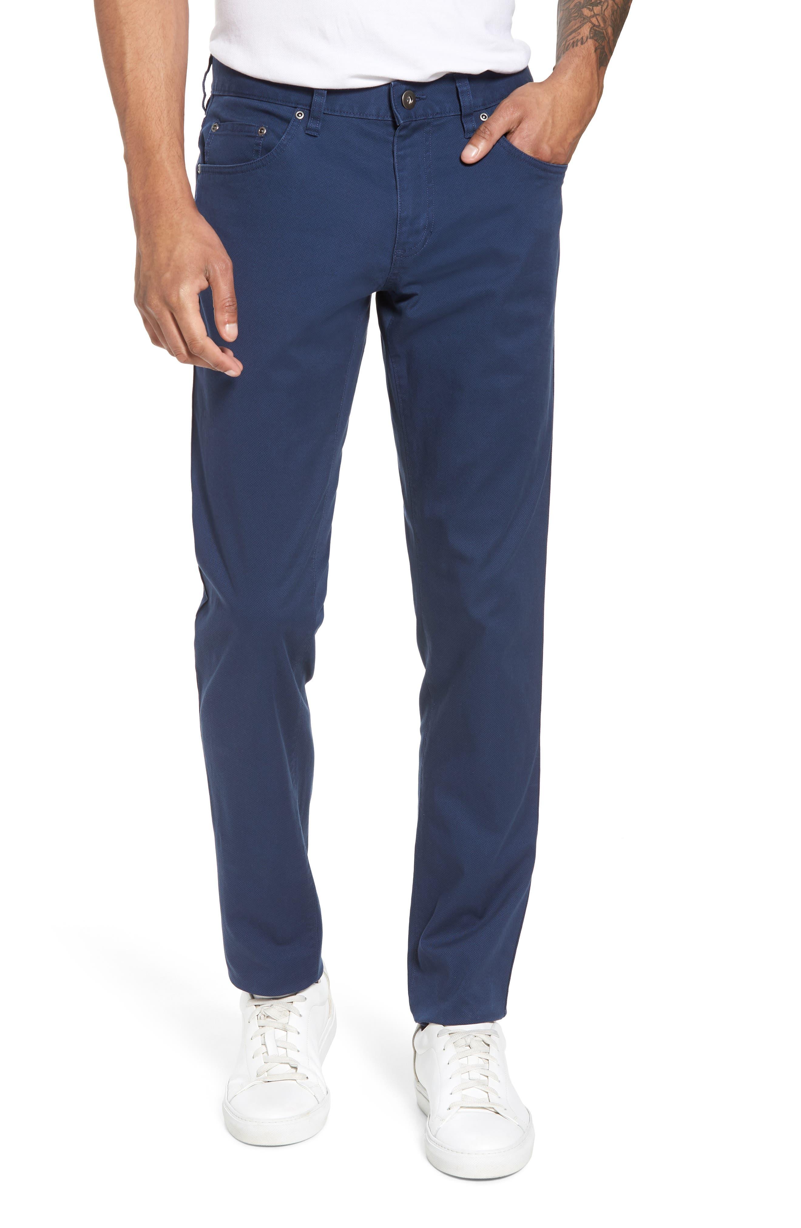 Textured Stretch Cotton Pants,                         Main,                         color, Navy Iris