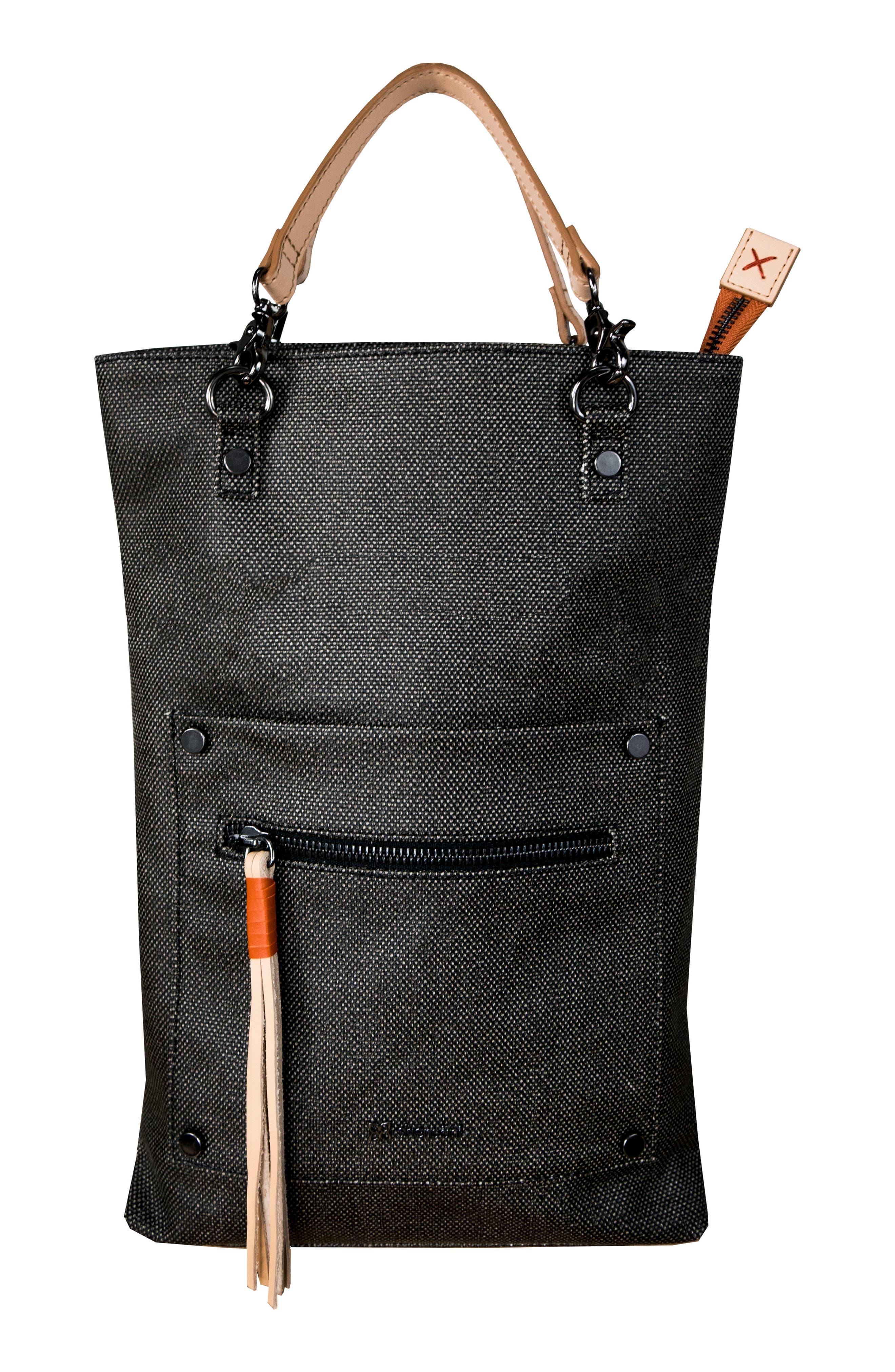 Rebel Coated Canvas Crossbody Bag,                             Alternate thumbnail 5, color,                             Blackstone