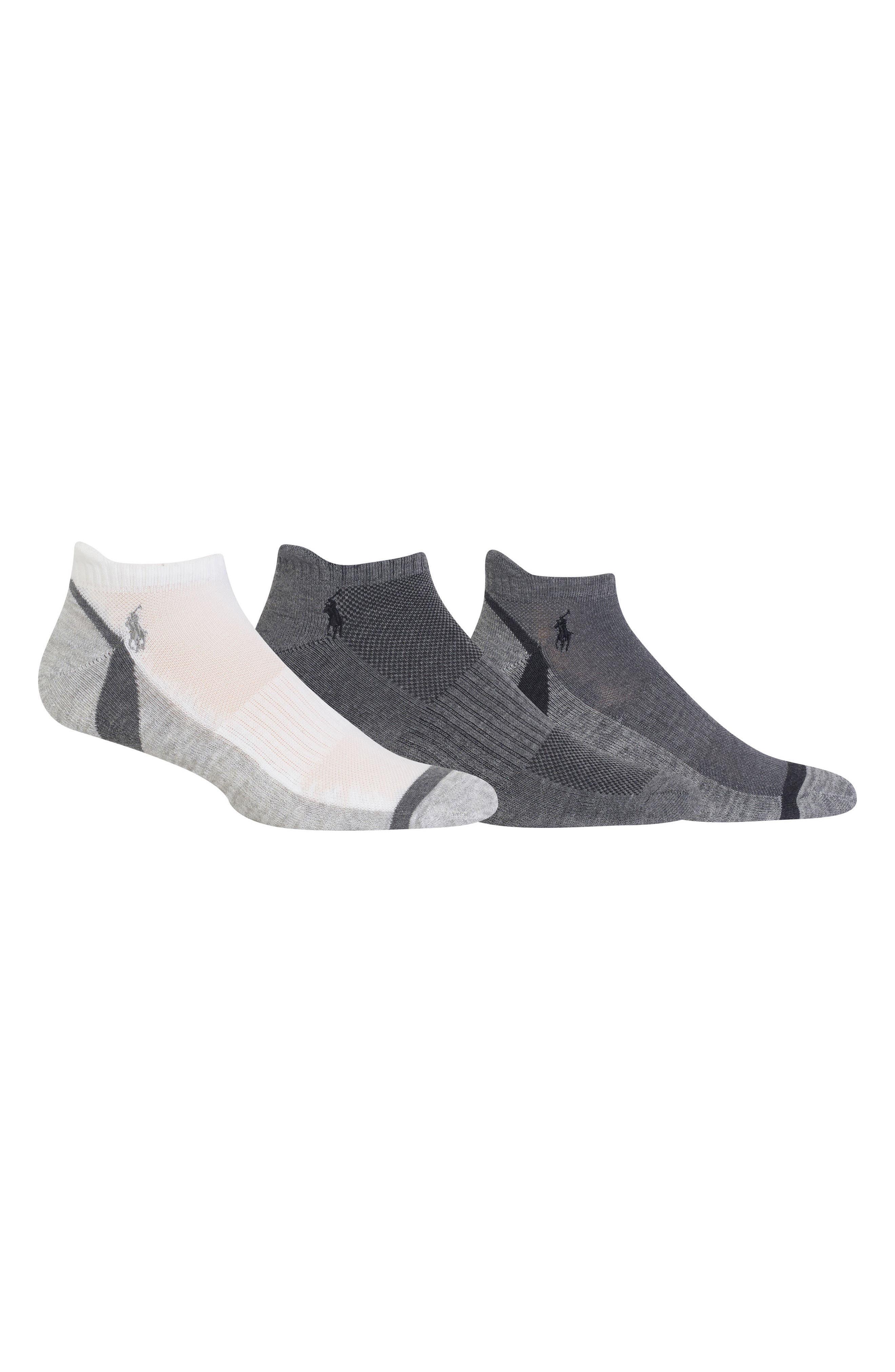 Polo Ralph Lauren 3-Pack Ankle Socks,                             Main thumbnail 1, color,                             Grey Multi