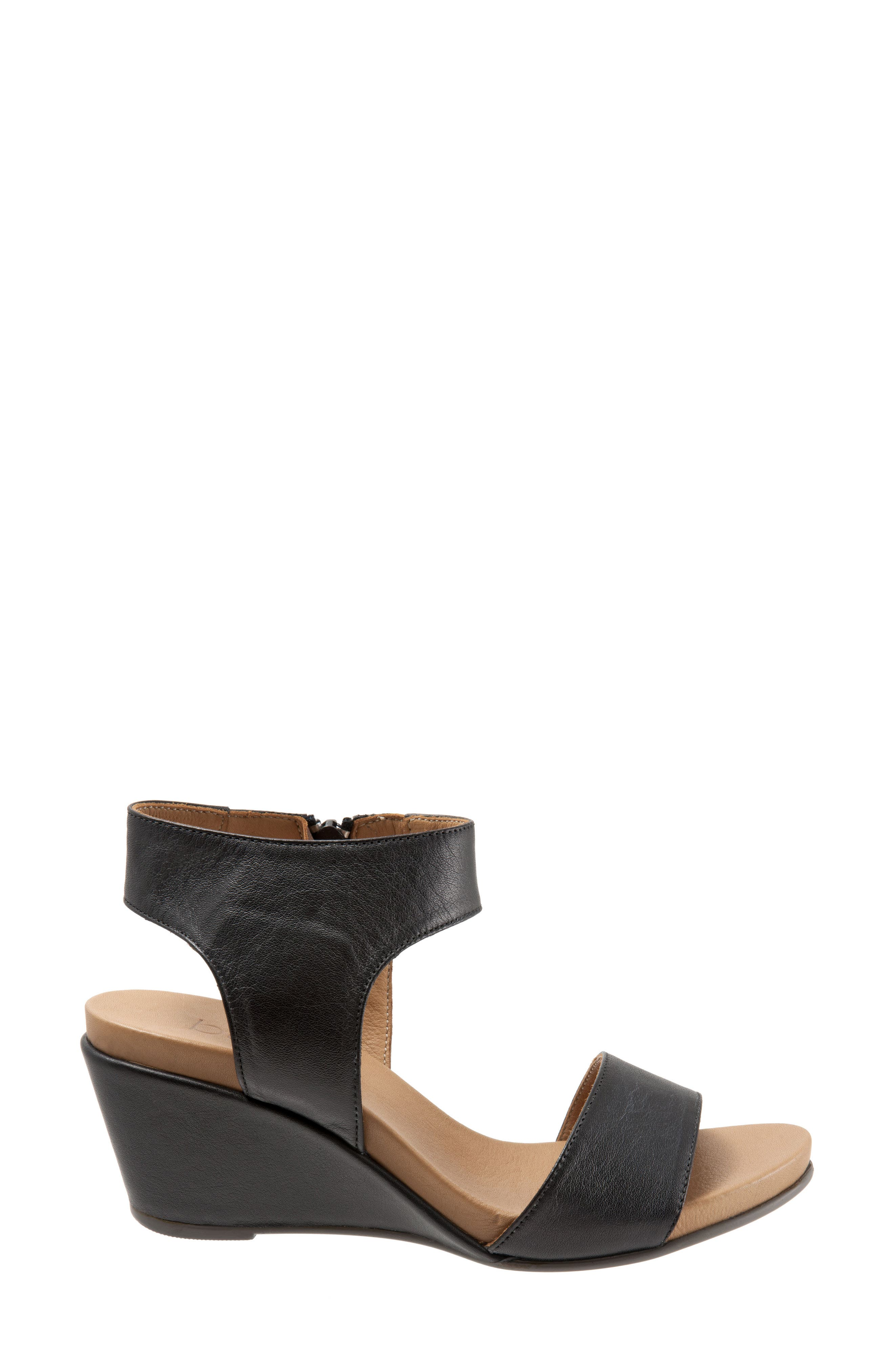 Ida Wedge Sandal,                             Alternate thumbnail 3, color,                             Black Leather