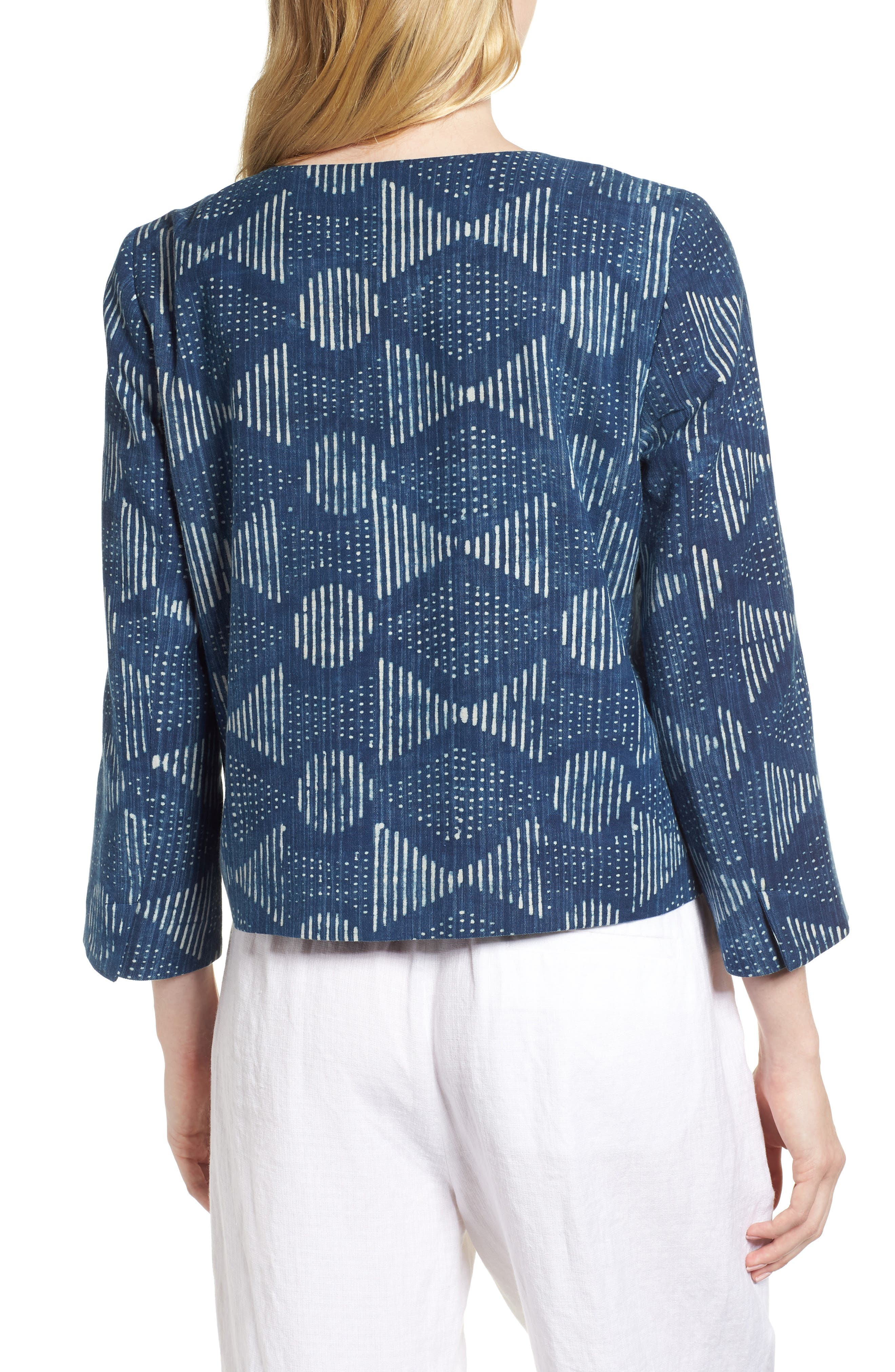 Hand Print Organic Cotton Jacket,                             Alternate thumbnail 2, color,                             Indigo
