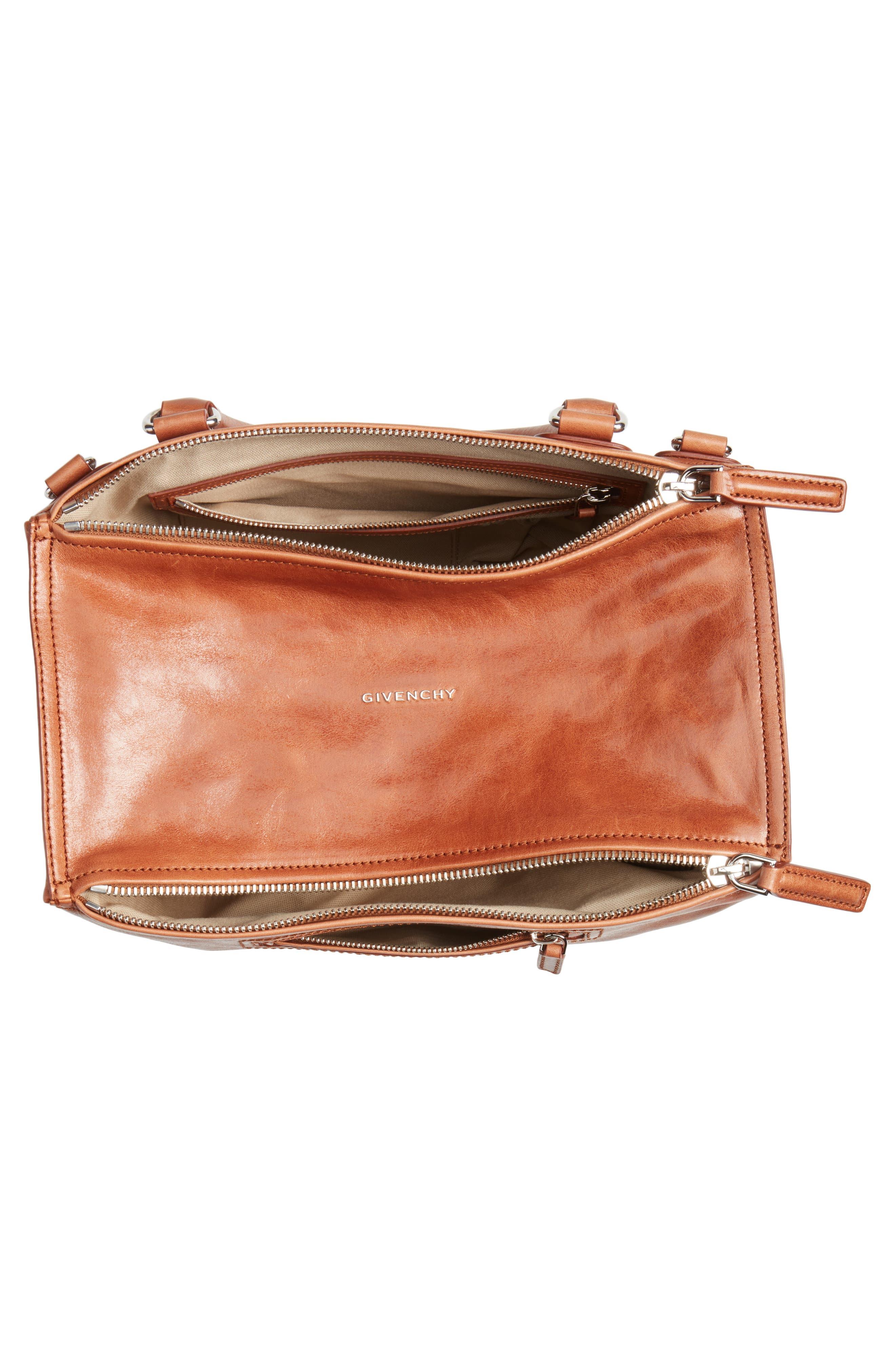Medium Pandora Shiny Aged Leather Satchel,                             Alternate thumbnail 4, color,                             Cognac