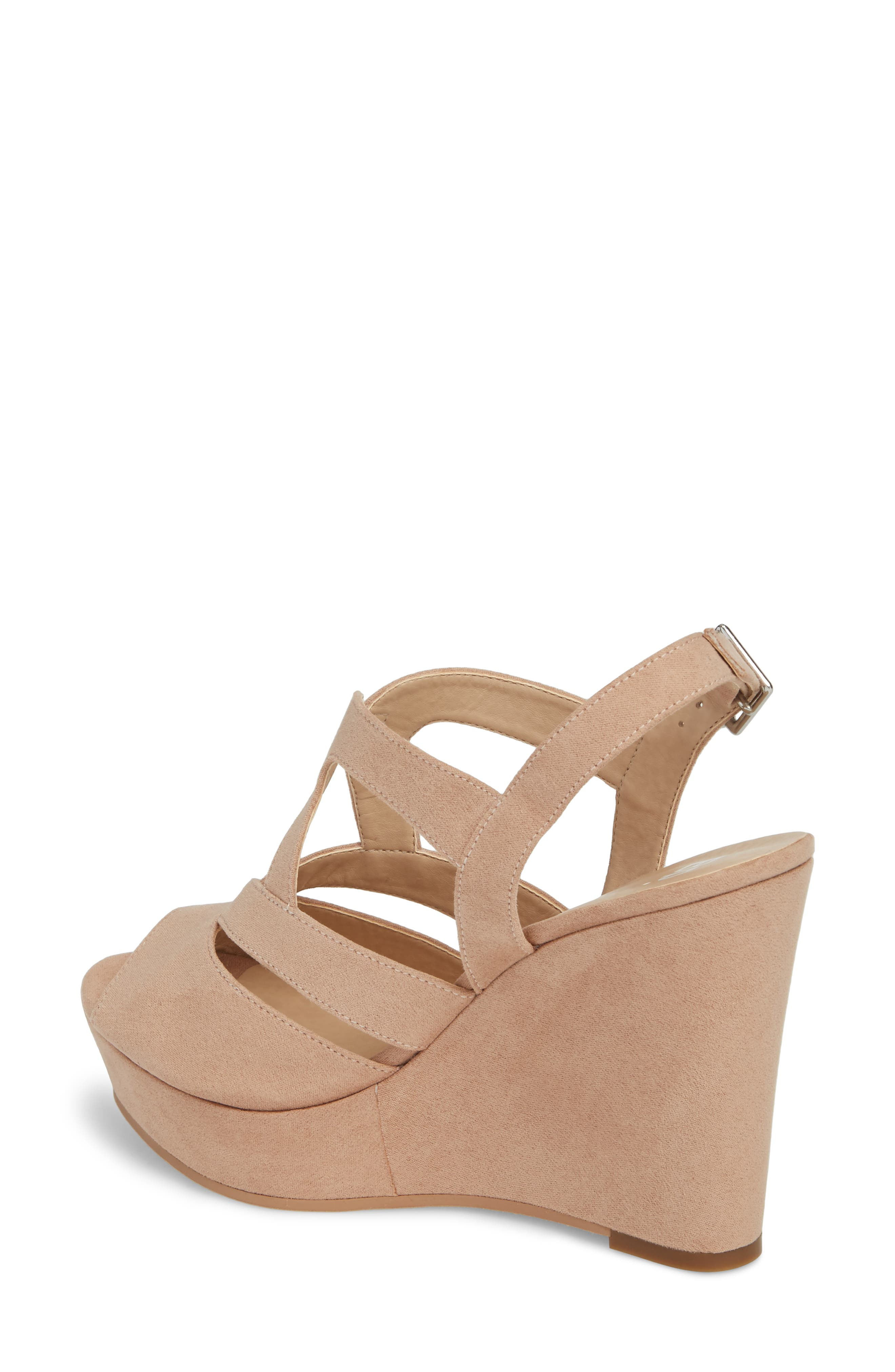 Sunny Platform Wedge Sandal,                             Alternate thumbnail 2, color,                             Nude Faux Suede