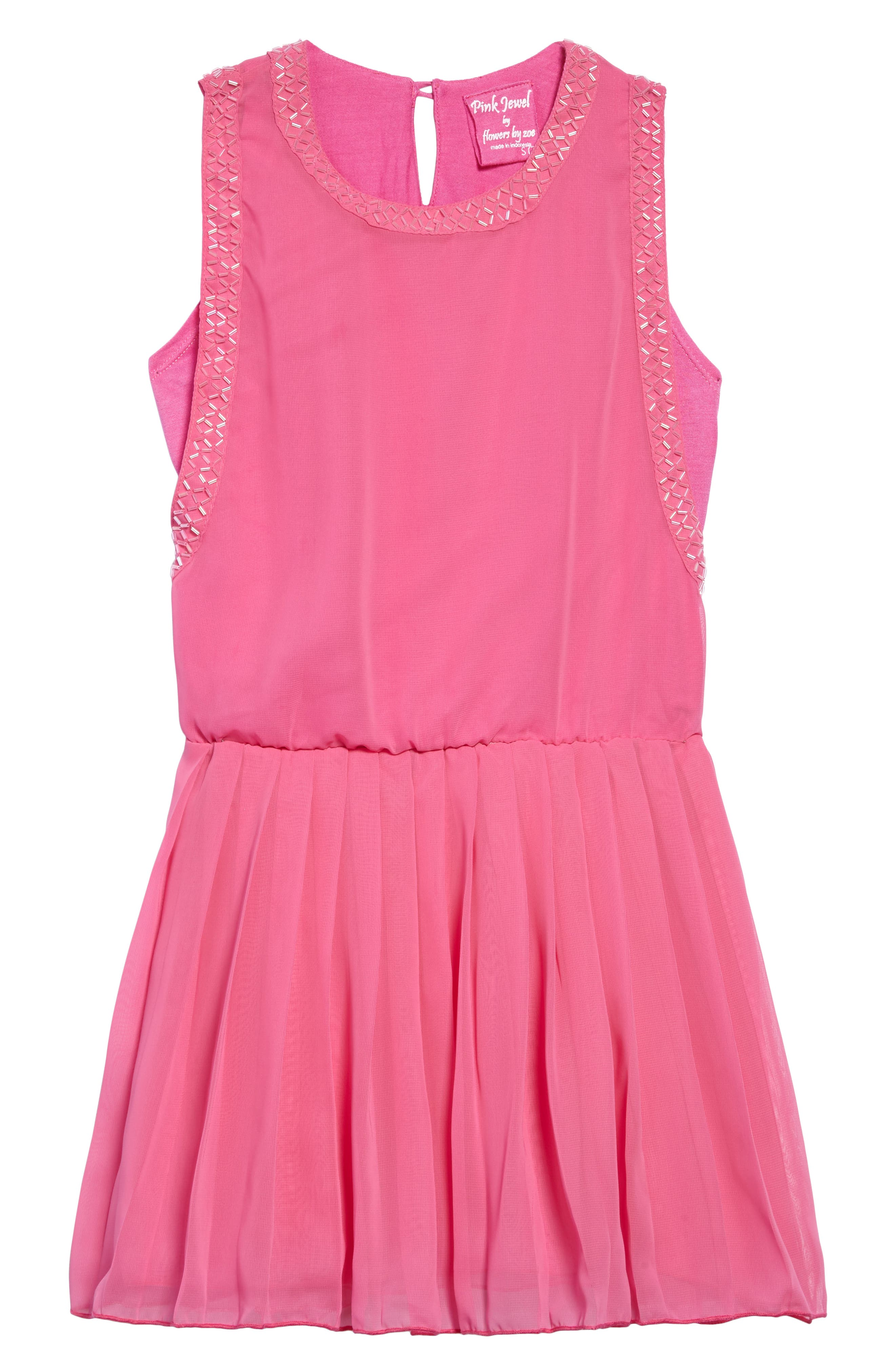Beaded Chiffon Dress,                         Main,                         color, Pink