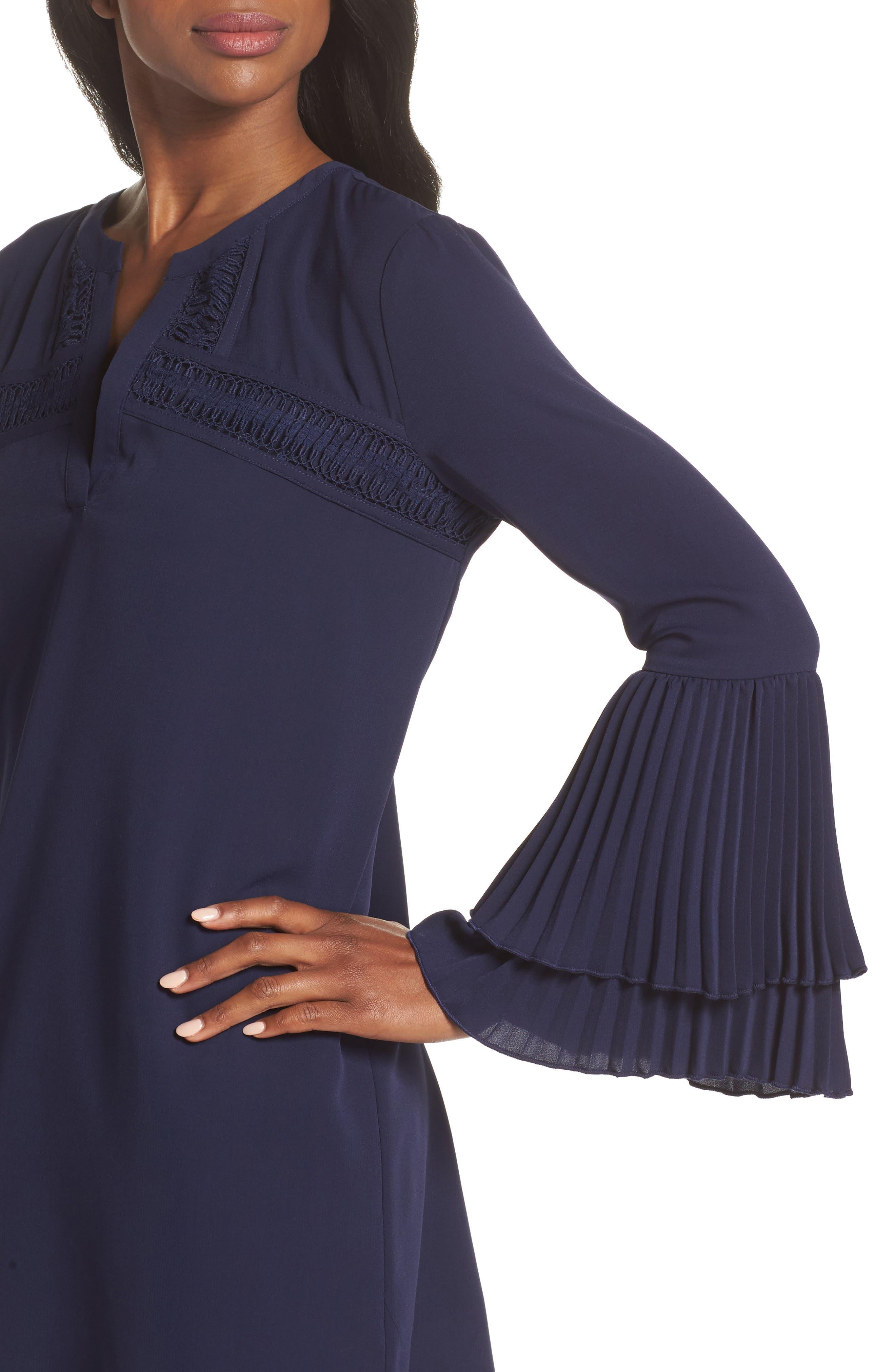 Elissa Pleat Cuff Shift Dress,                             Alternate thumbnail 4, color,                             Navy