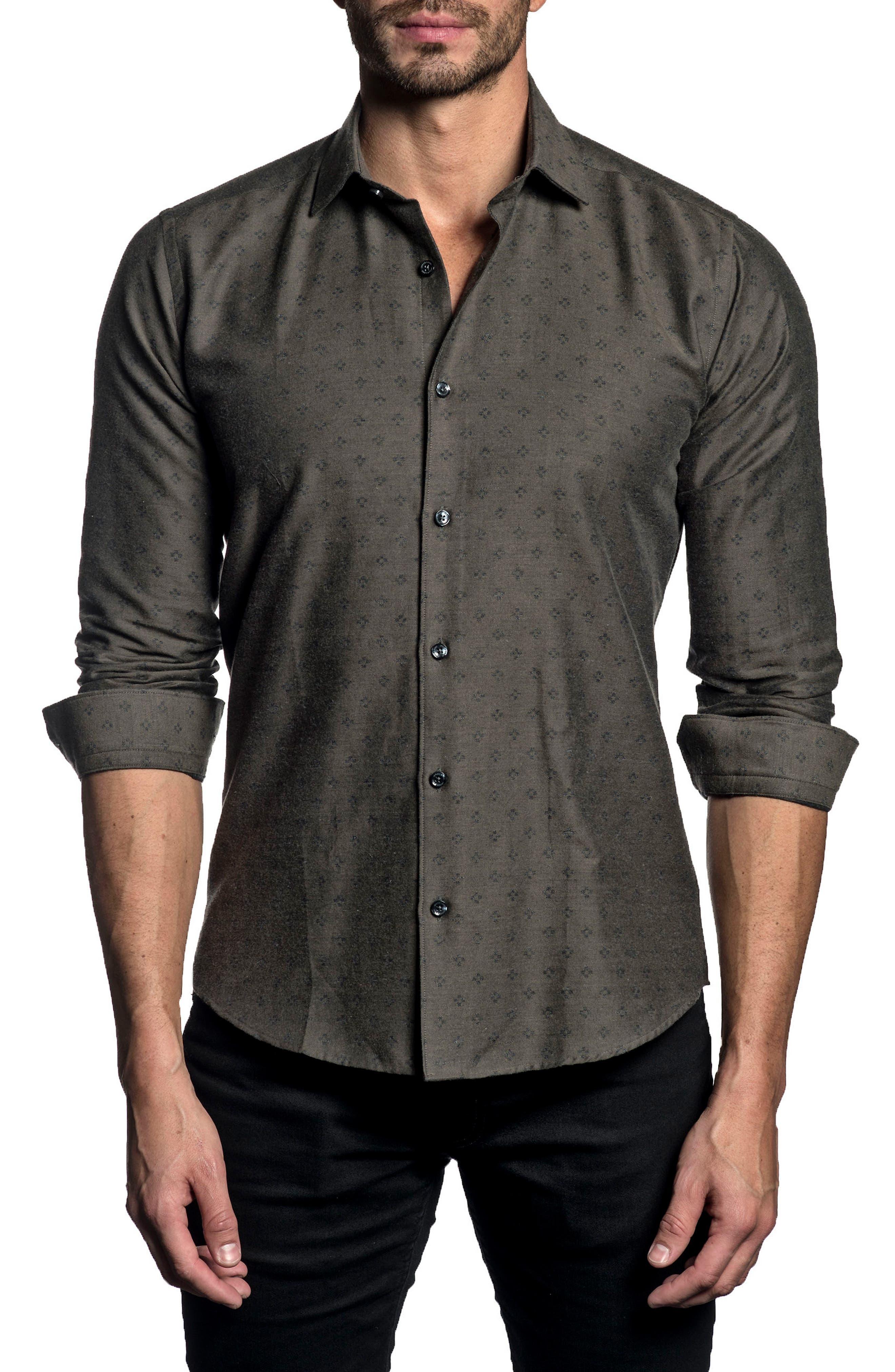Trim Fit Sport Shirt,                         Main,                         color, Brown
