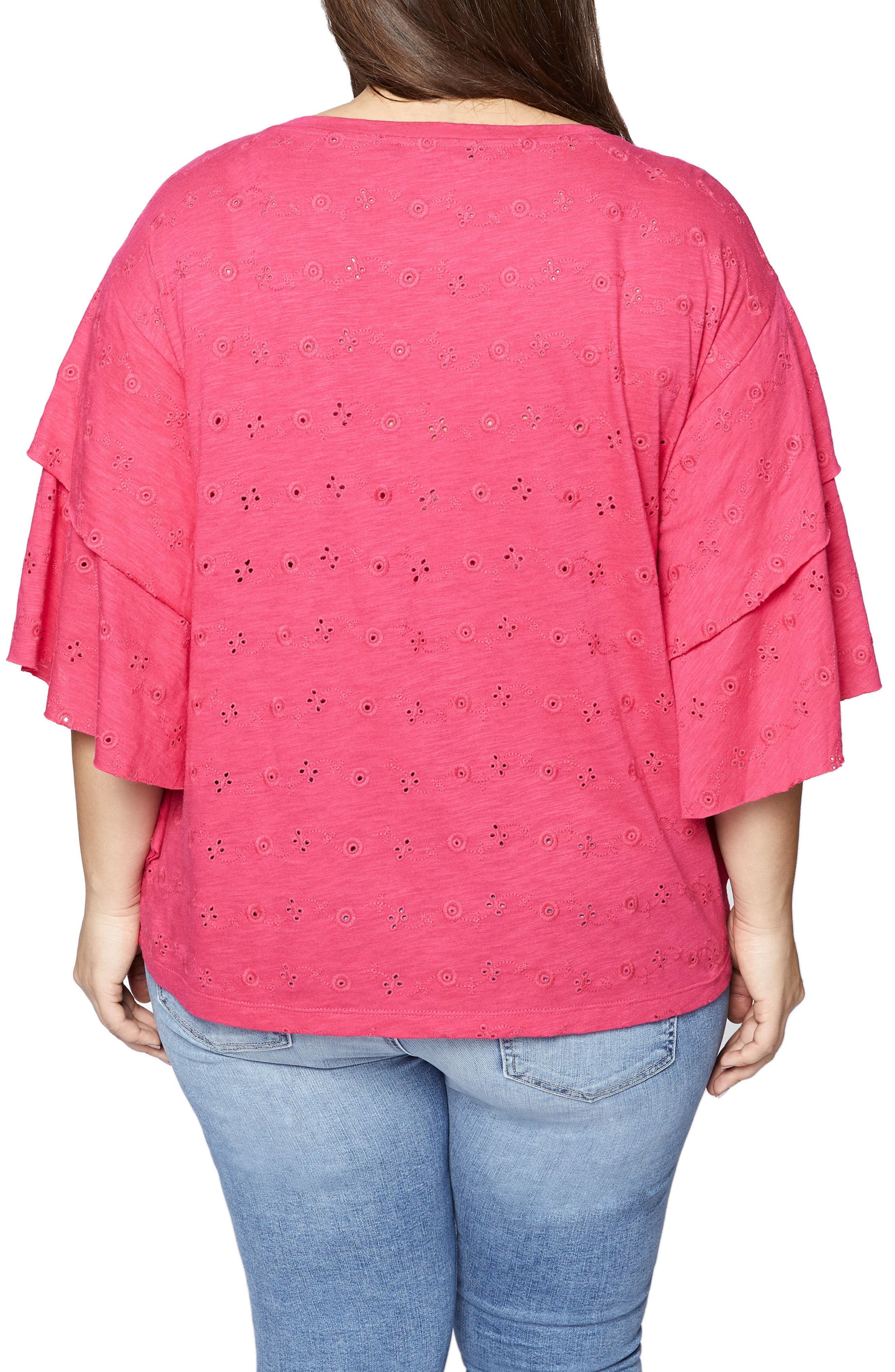 Elise Ruffled Eyelet Top,                             Alternate thumbnail 2, color,                             Camellia