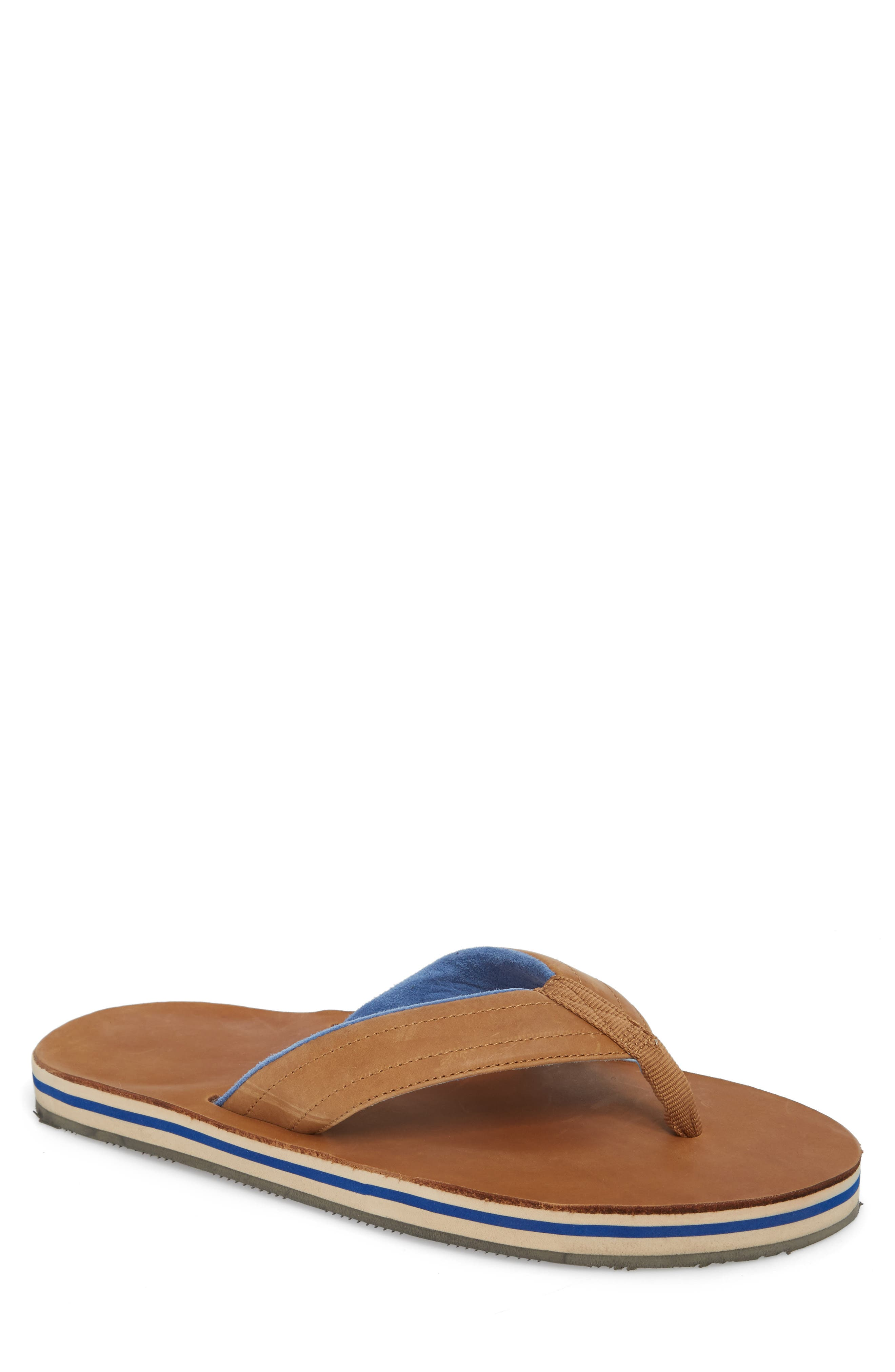 Lakes Sandwich Stripe Flip Flop,                             Main thumbnail 1, color,                             Tan/ Navy Leather