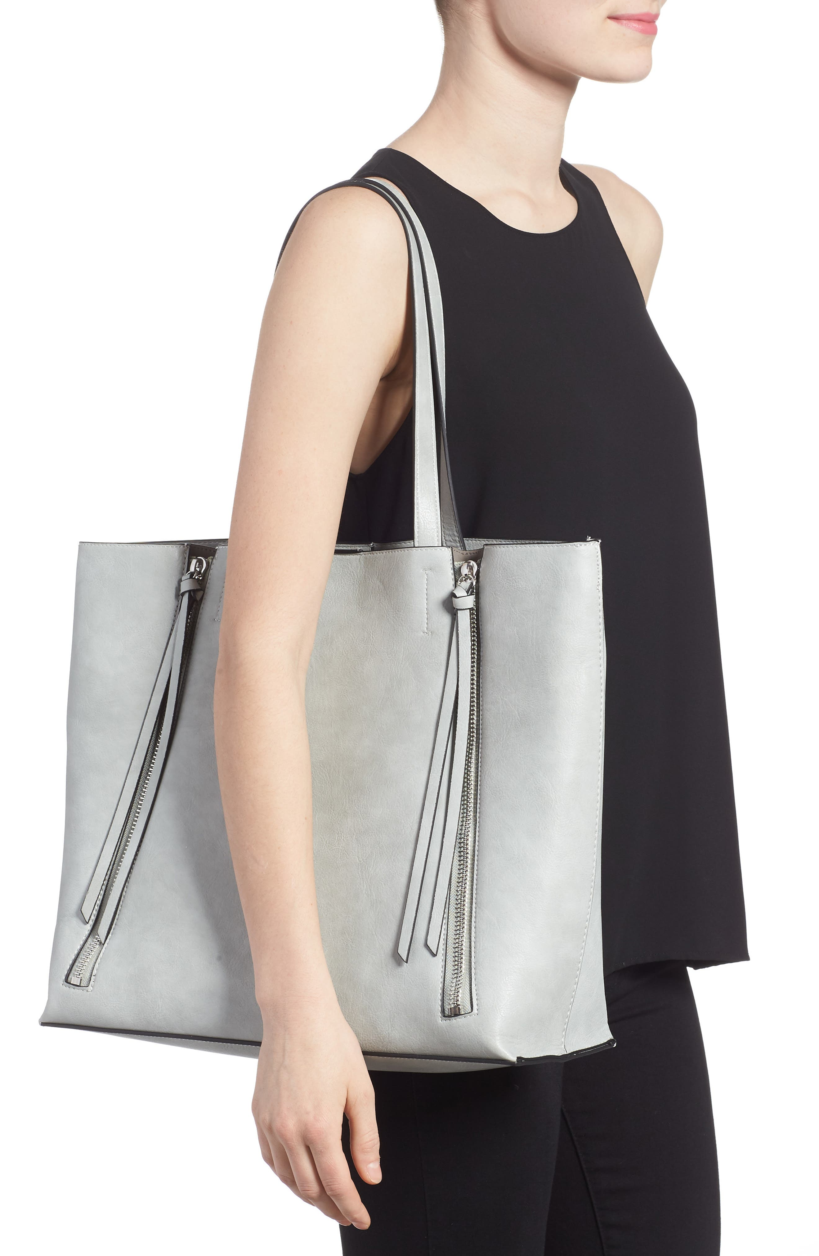 Alternate Image 2  - Chelsea28 Leigh Faux Leather Tote & Zip Pouch