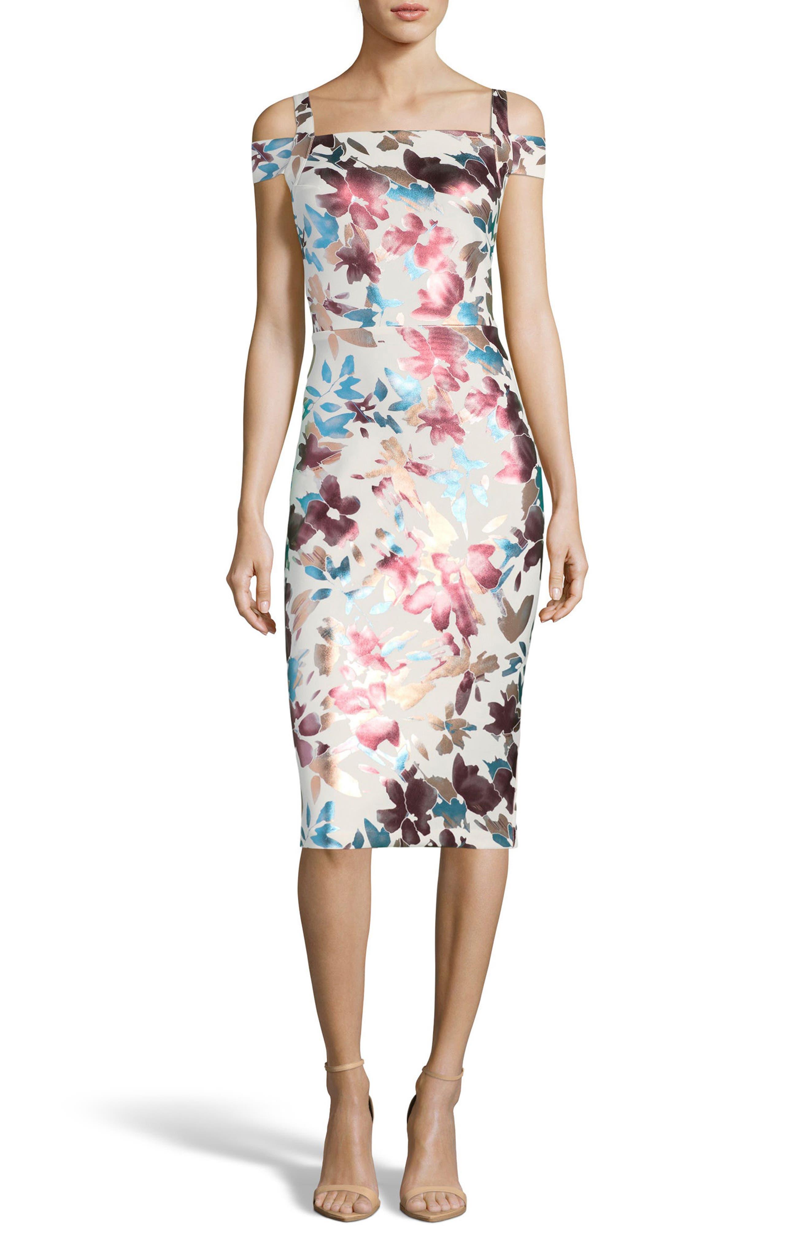 Floral Cold Shoulder Sheath Dress,                         Main,                         color, Ivory/ Rose