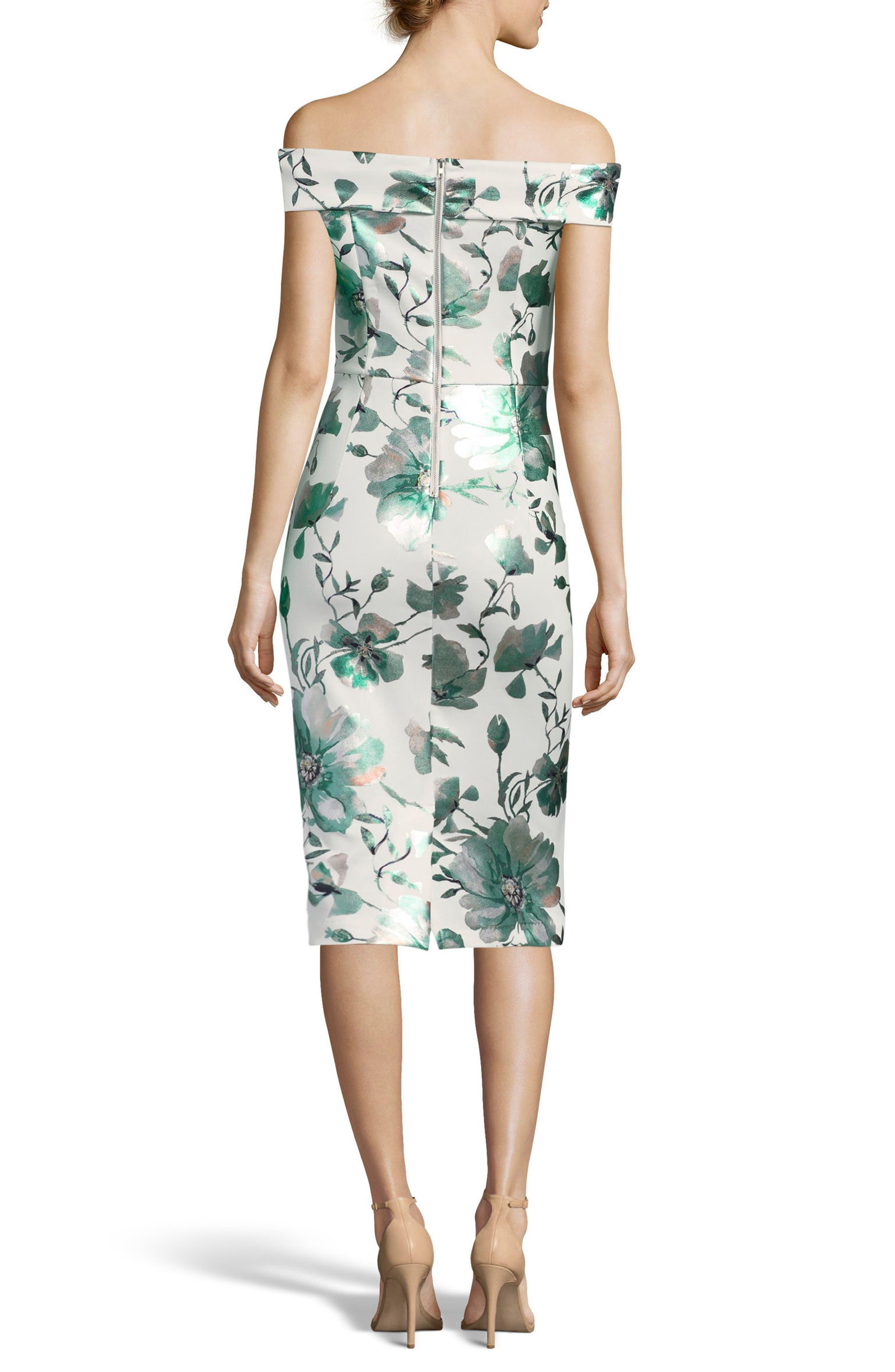 Off the Shoulder Scuba Sheath Dress,                             Alternate thumbnail 2, color,                             Ivory/ Jade