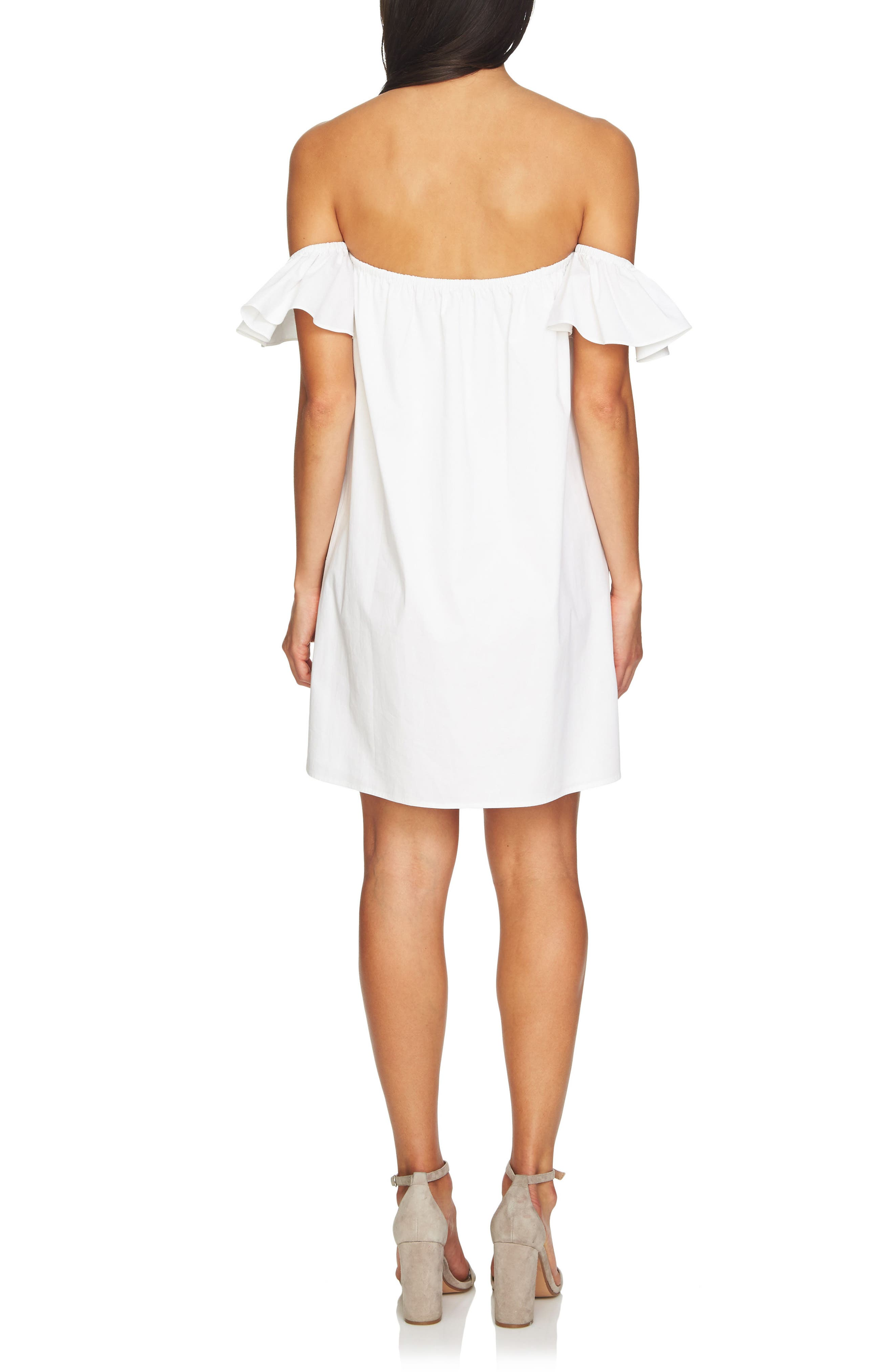 Off the Shoulder Embroidered Dress,                             Alternate thumbnail 2, color,                             Ultra White