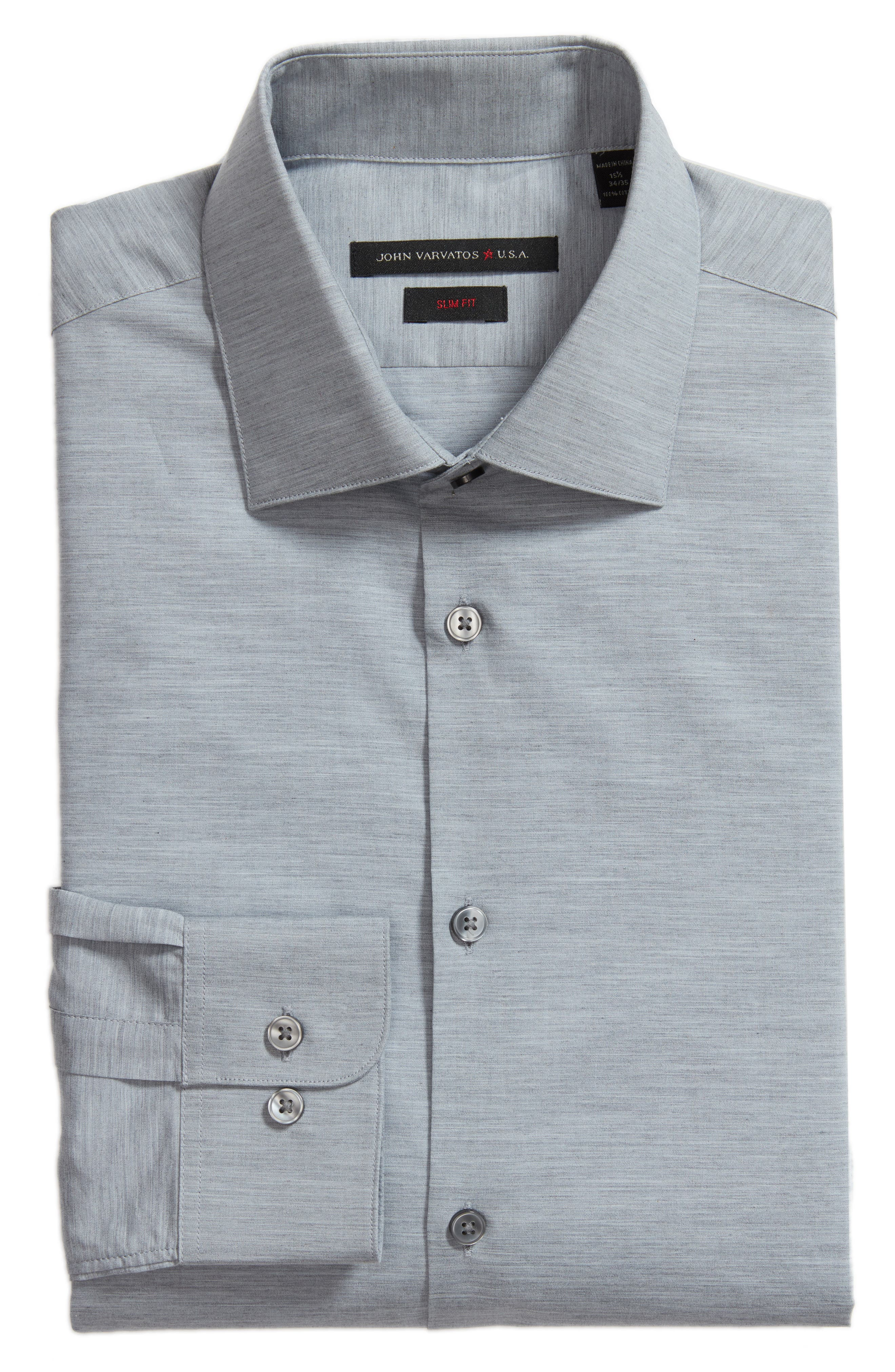 Slim Fit Stretch Solid Dress Shirt,                             Alternate thumbnail 6, color,                             Heather