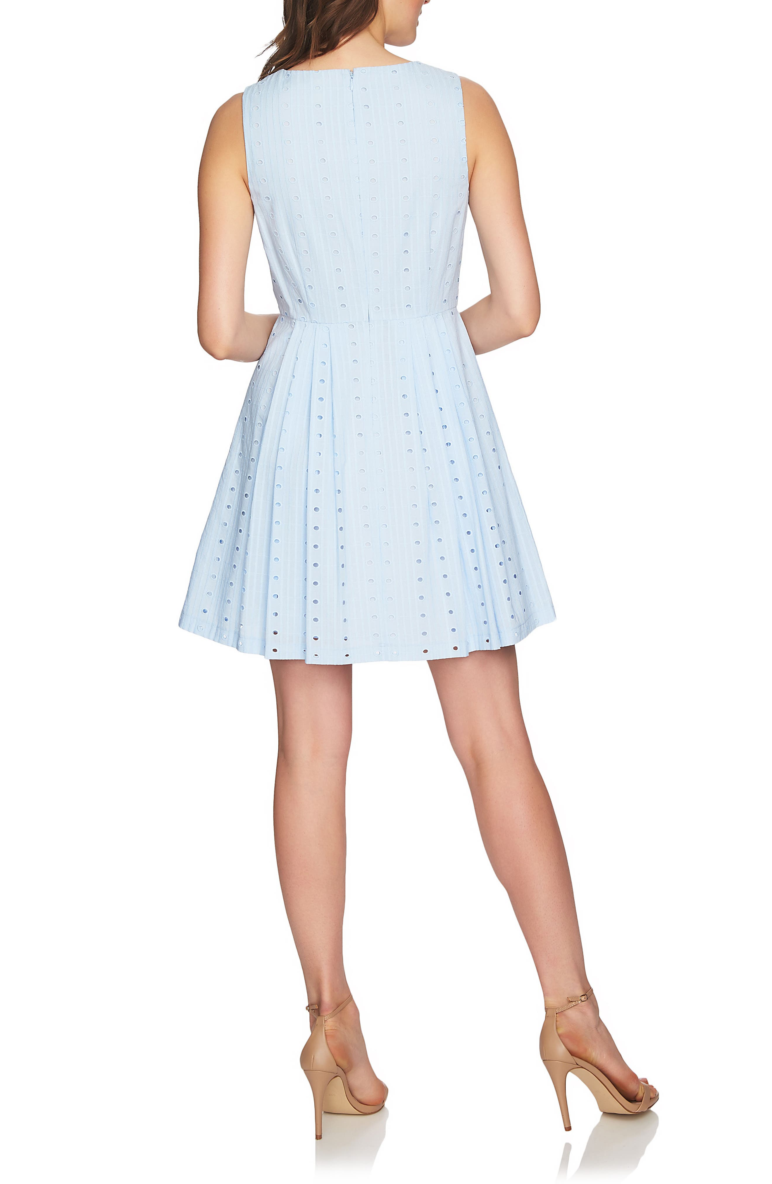 Clairborne Eyelet Fit & Flare Dress,                             Alternate thumbnail 2, color,                             Bluebird