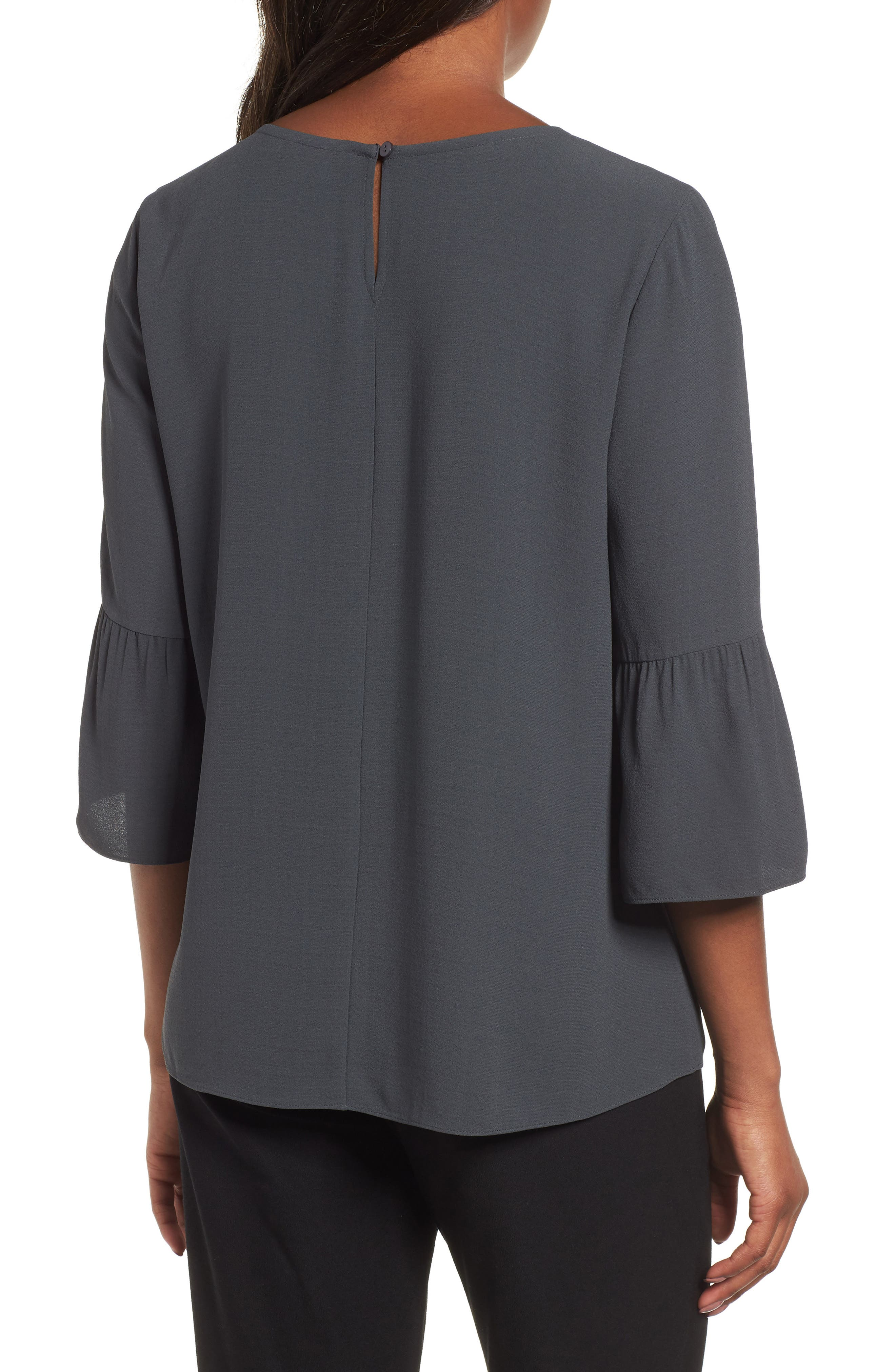 Ruffled Sleeve Silk Top,                             Alternate thumbnail 2, color,                             Graphite