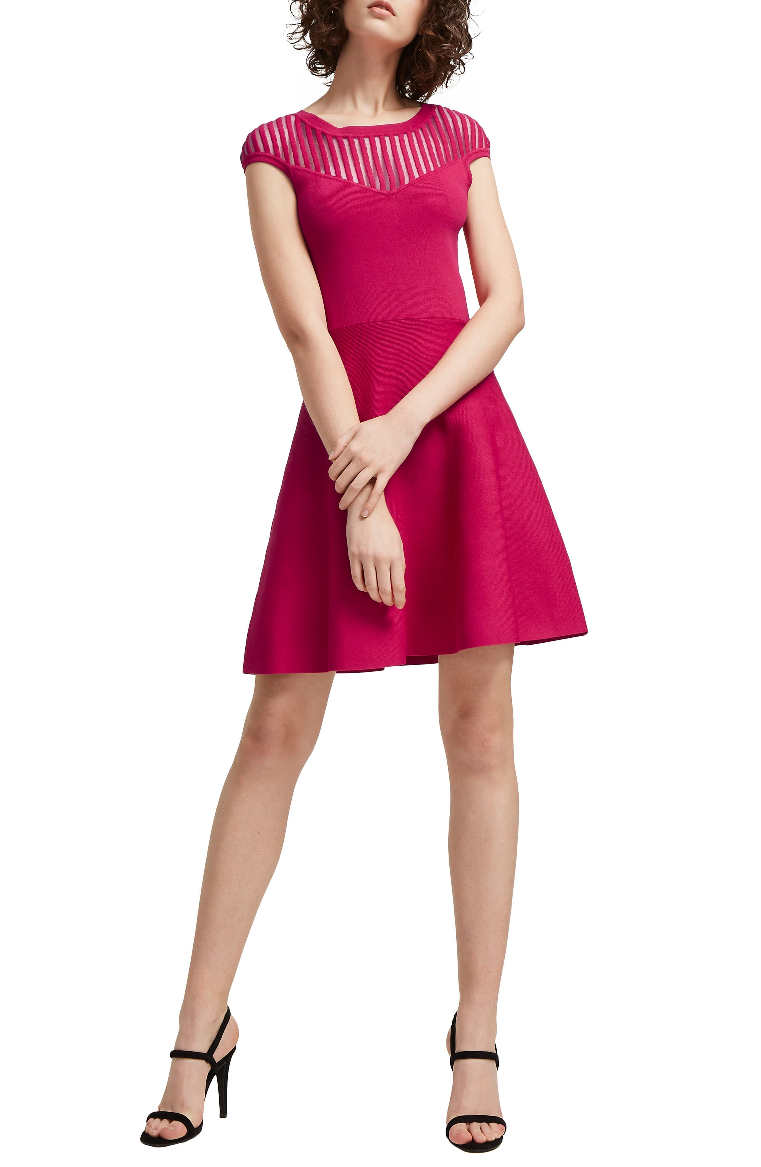 Rose Fit & Flare Dress,                             Main thumbnail 1, color,                             Magenta Haze