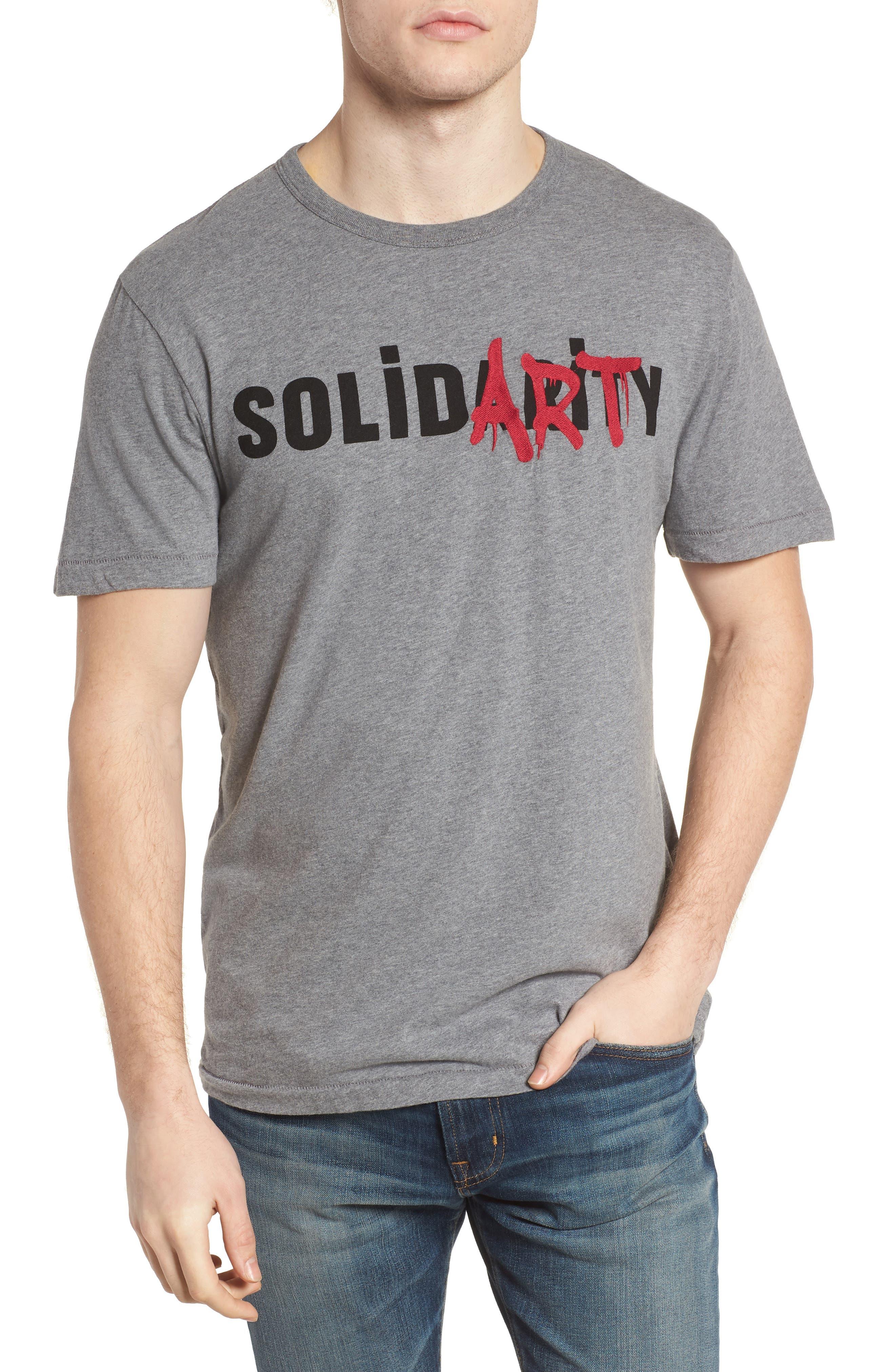 Solidarity Slim Fit Crewneck T-Shirt,                         Main,                         color, Mid Grey Melange/ Black