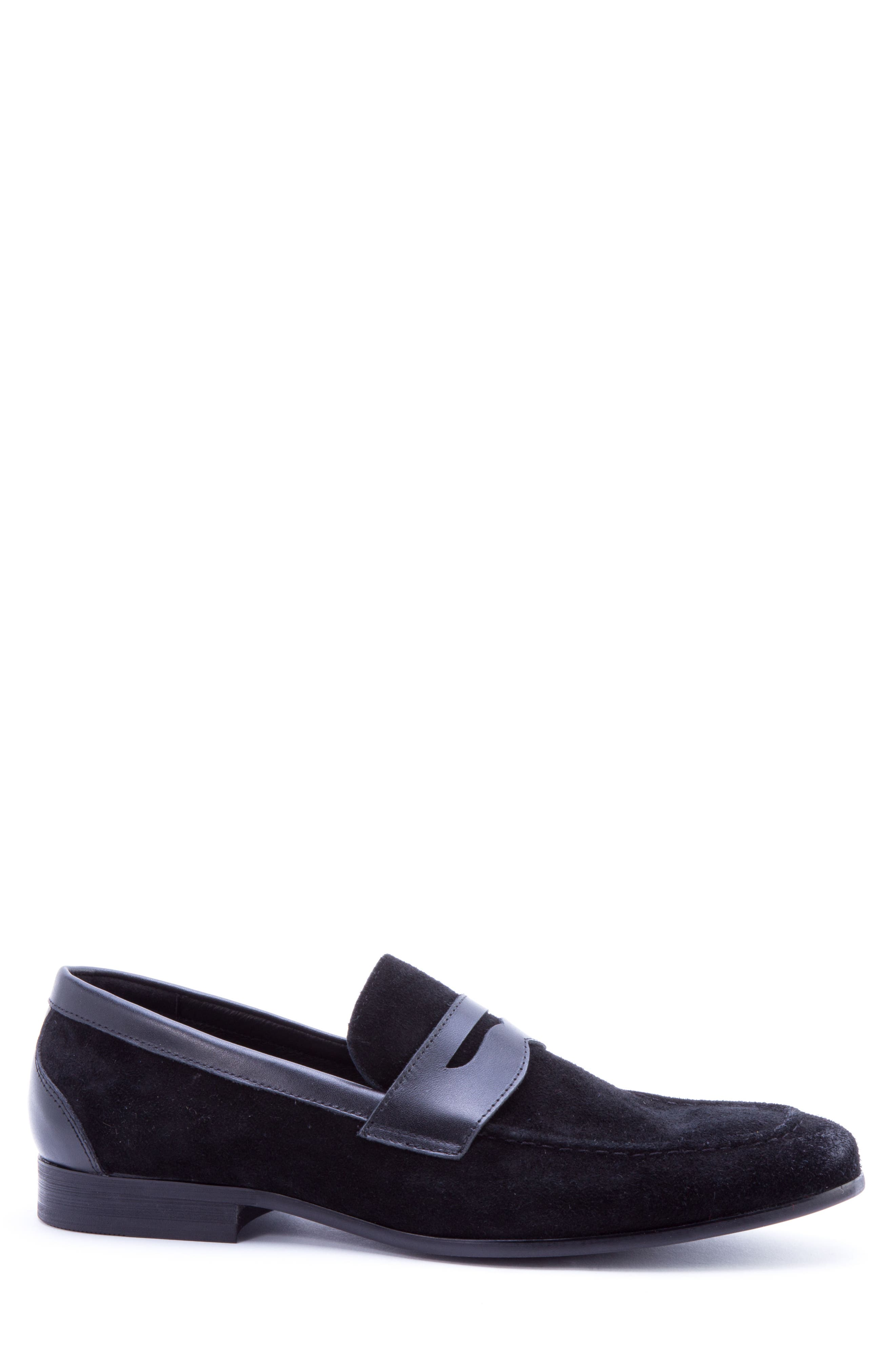 Siena Penny Loafer,                             Alternate thumbnail 3, color,                             Black Suede/ Leather