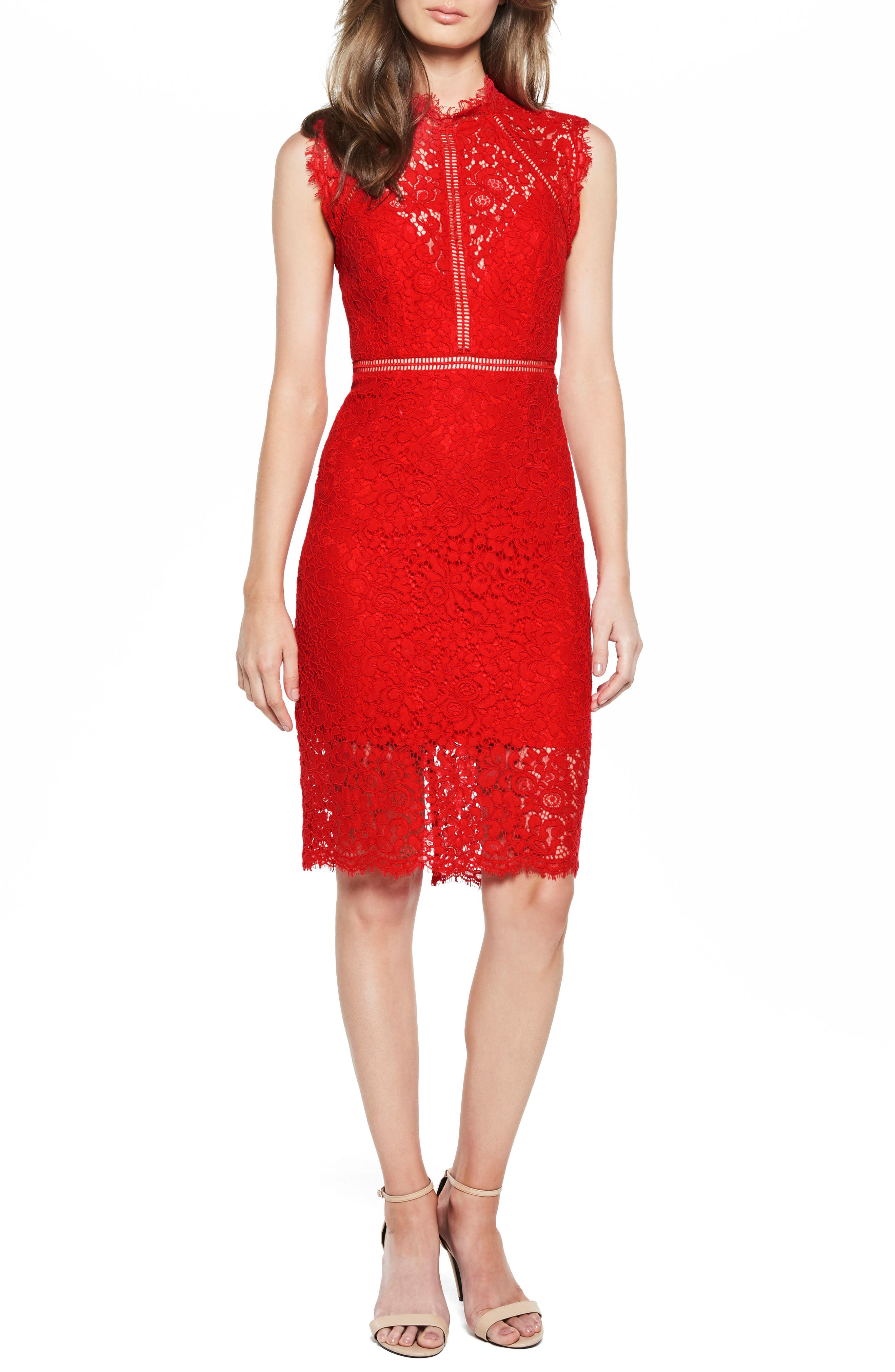 Lace Sheath Dress,                             Main thumbnail 1, color,                             Red