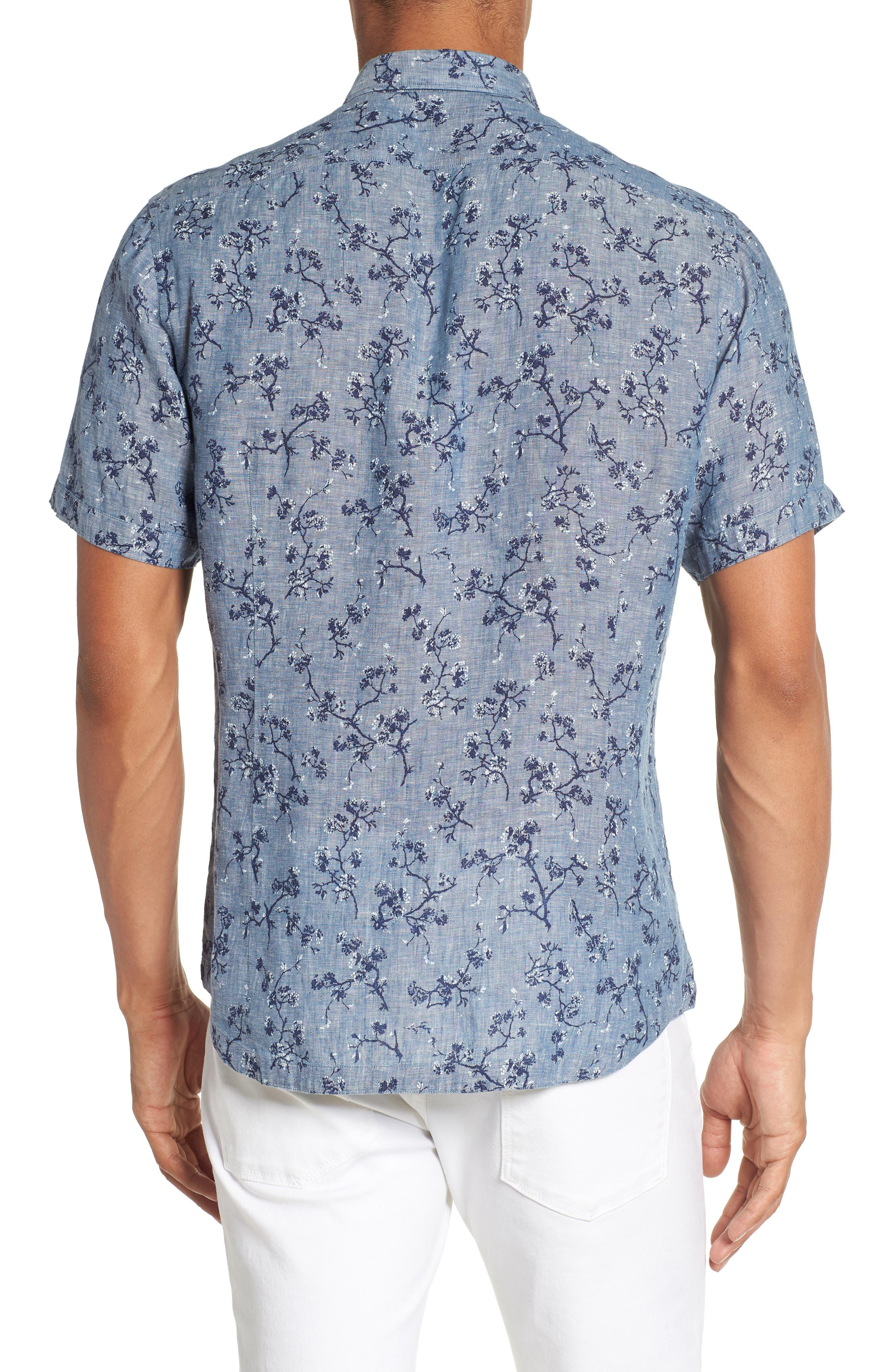 Trim Fit Floral Sport Shirt,                             Alternate thumbnail 2, color,                             Indigo