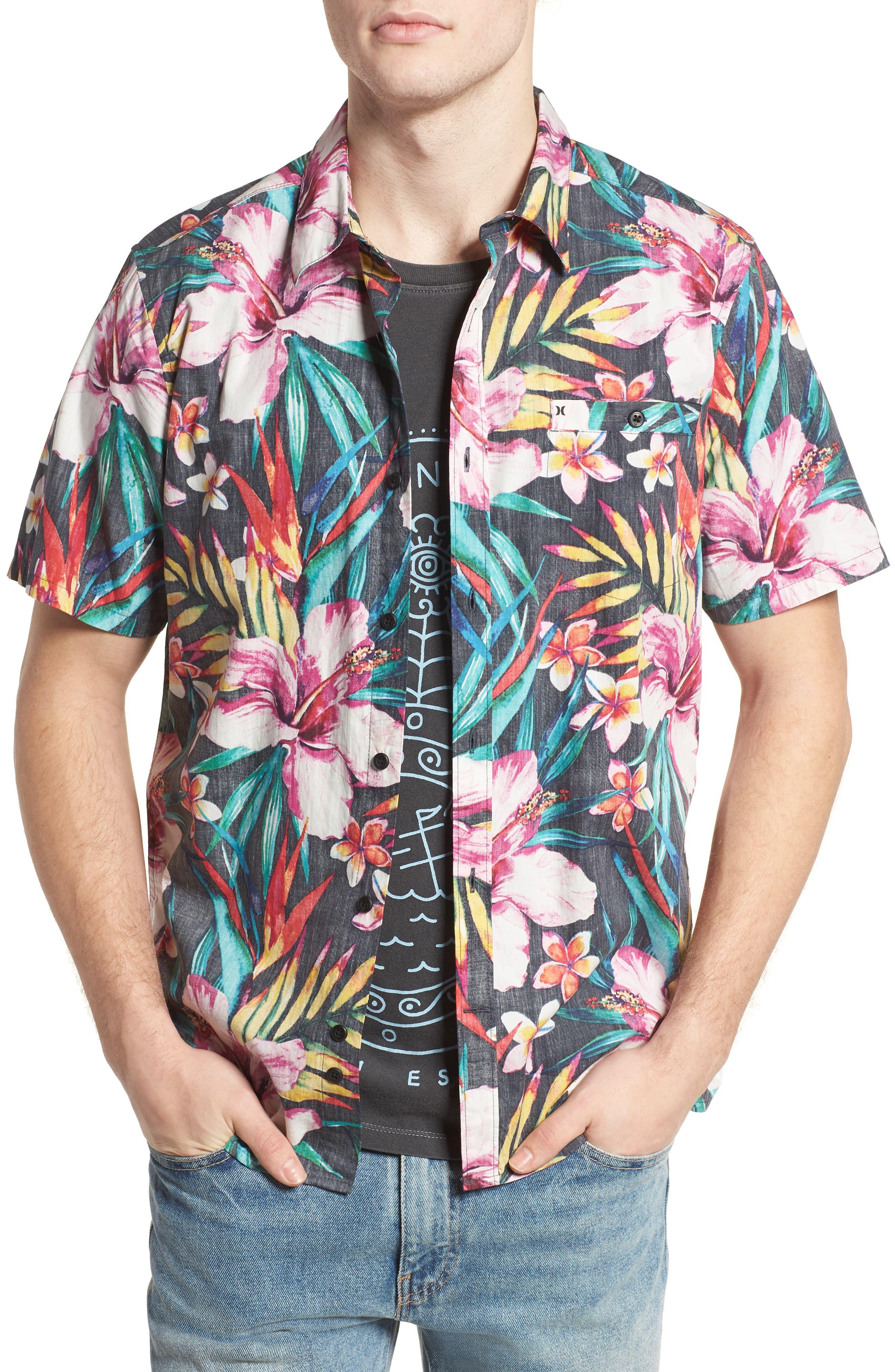 Garden Woven Shirt,                         Main,                         color, Black
