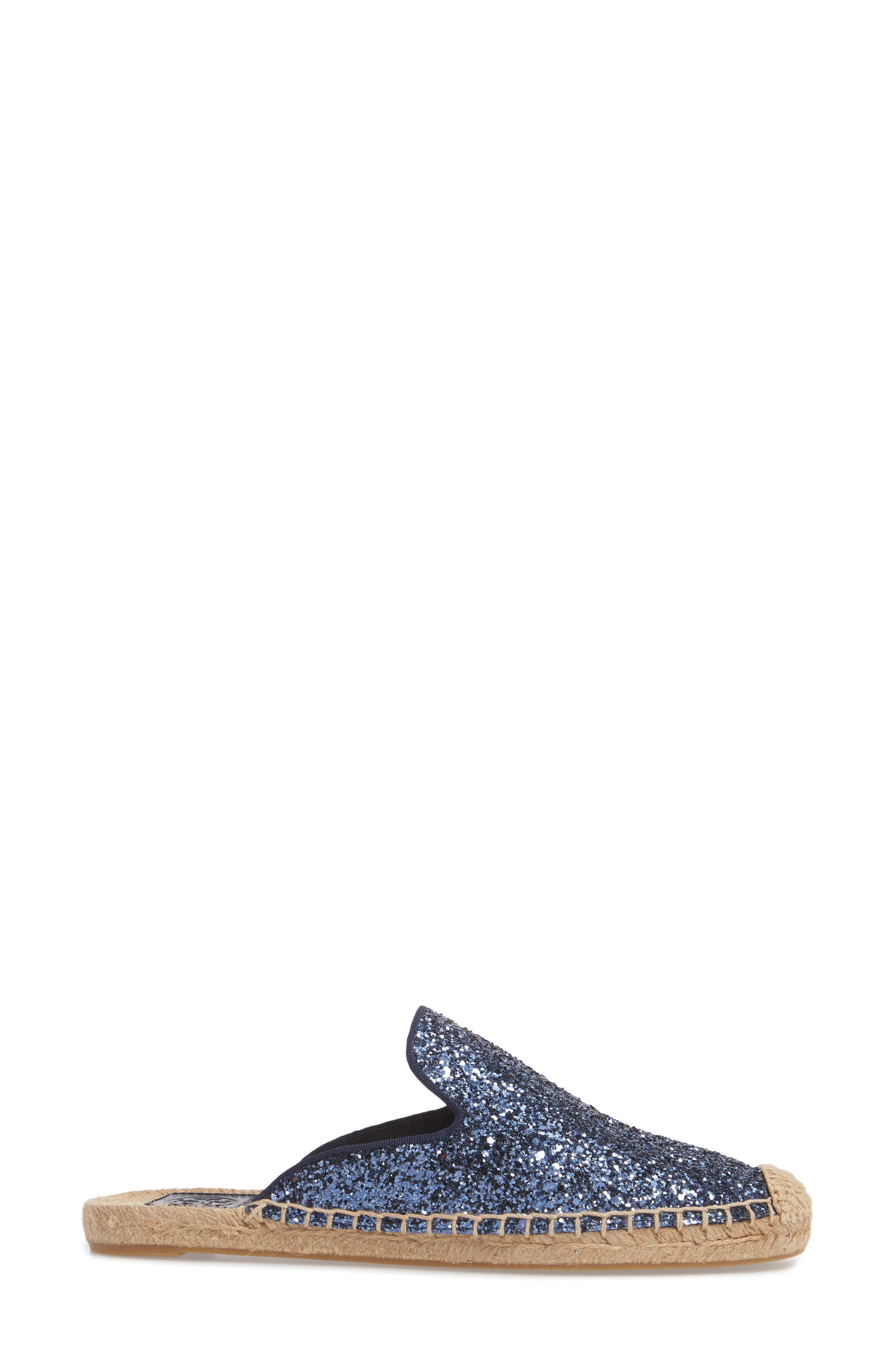 Max Glitter Espadrille Mule,                             Alternate thumbnail 3, color,                             Perfect Navy
