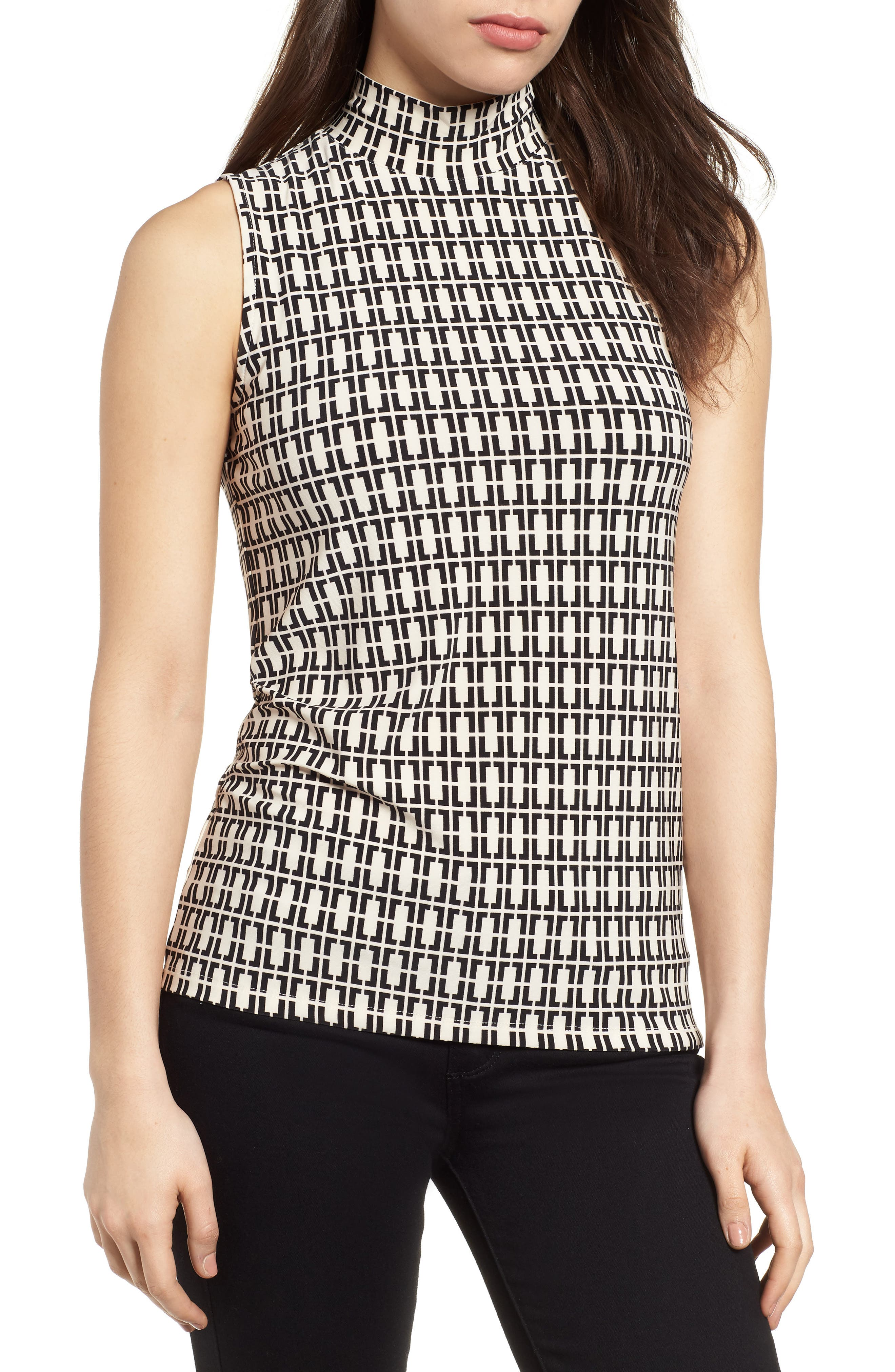 Printed Sleeveless Mock Neck Top,                         Main,                         color, Parchment/ Black