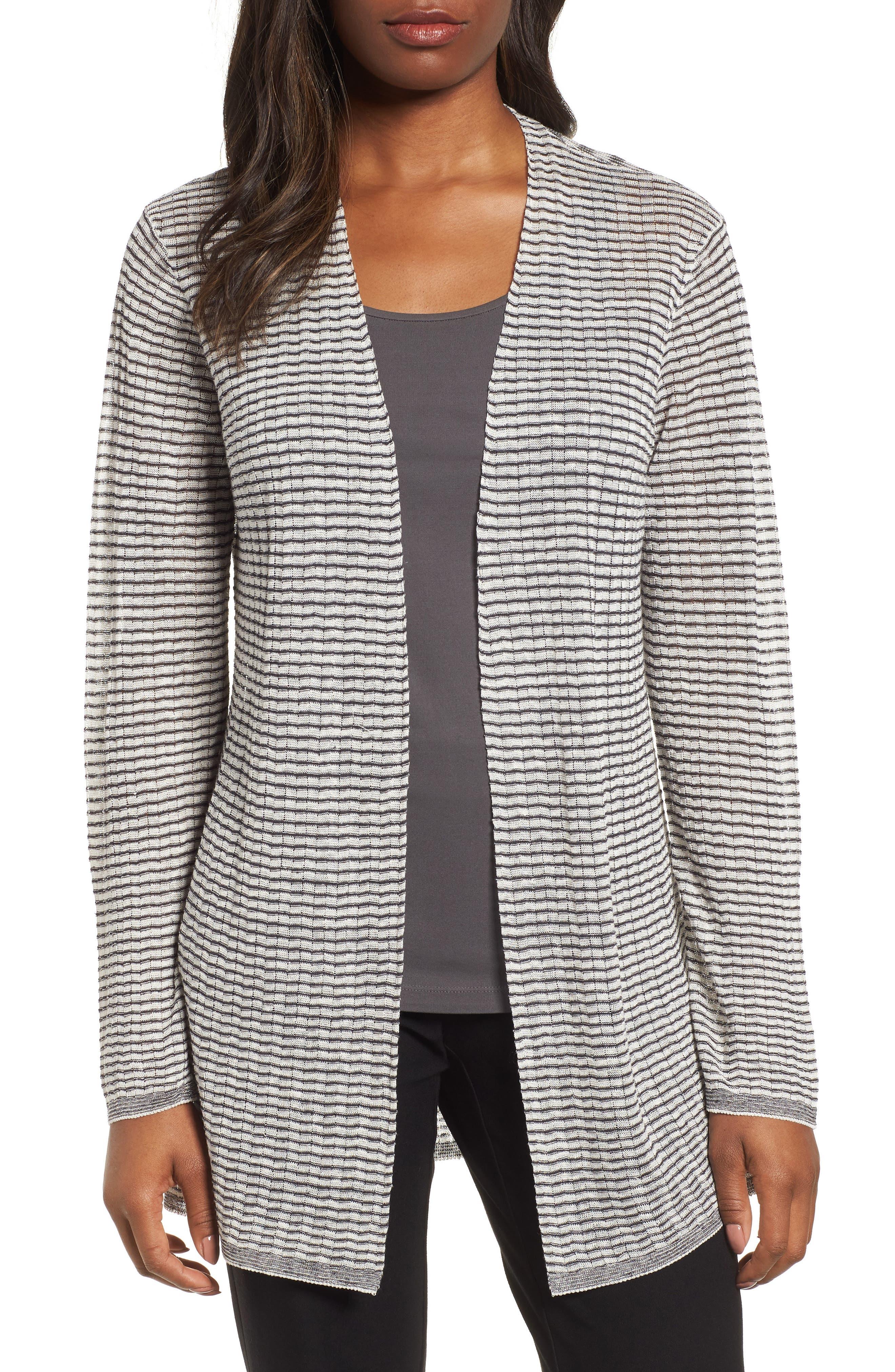 Eileen Fisher Stripe Organic Linen Blend Cardigan (Regular & Petite)
