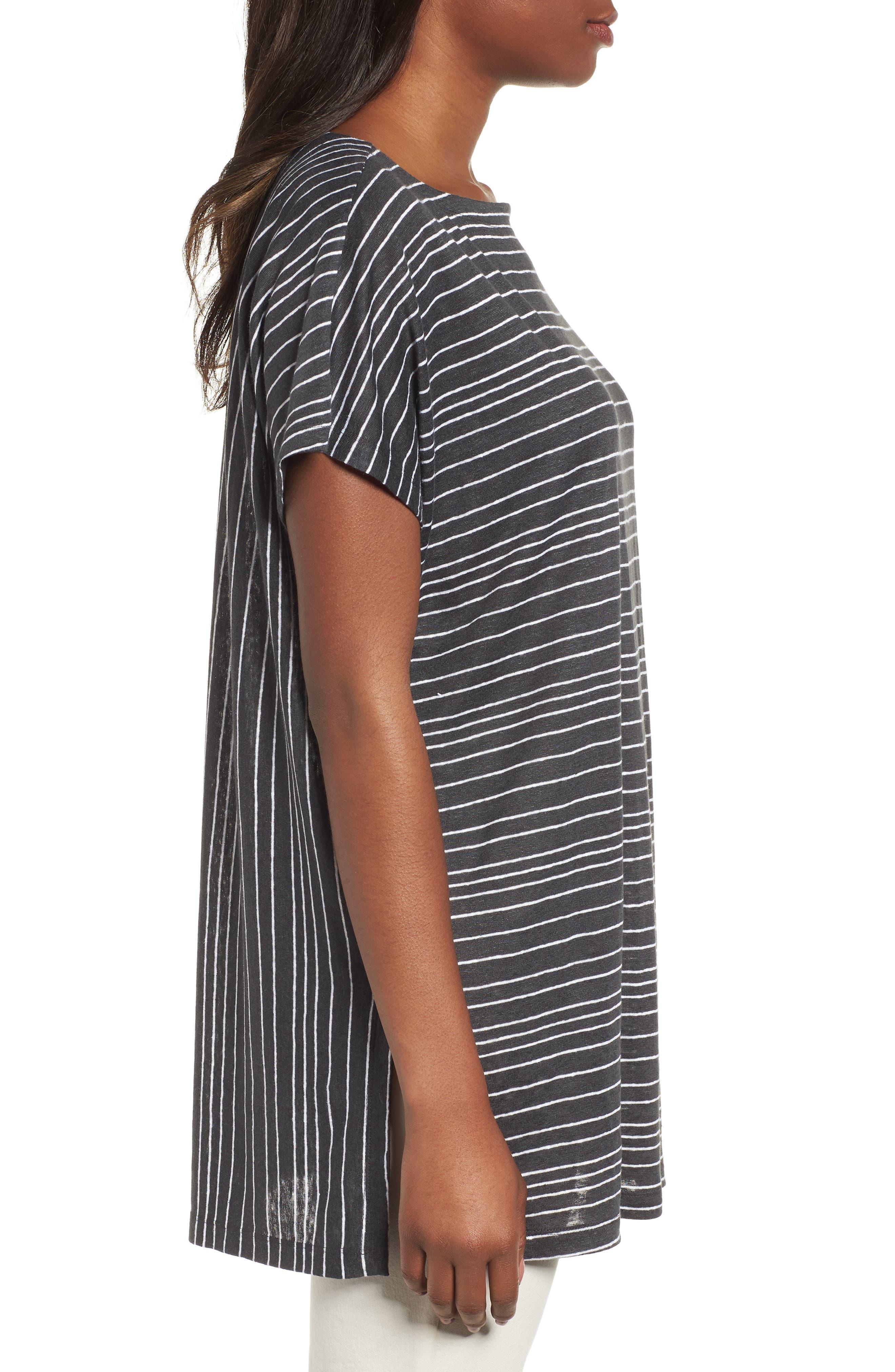 Stripe Organic Linen Tunic,                             Alternate thumbnail 3, color,                             Graphite