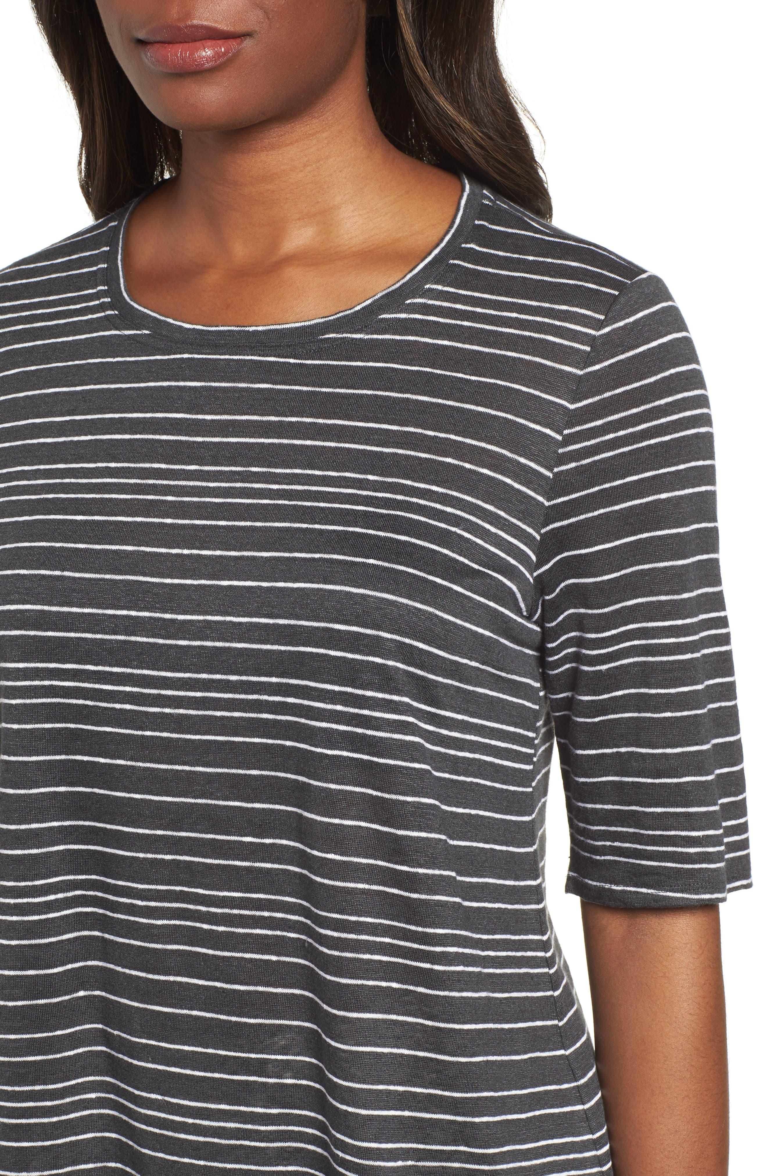 Stripe Organic Linen Top,                             Alternate thumbnail 4, color,                             Graphite