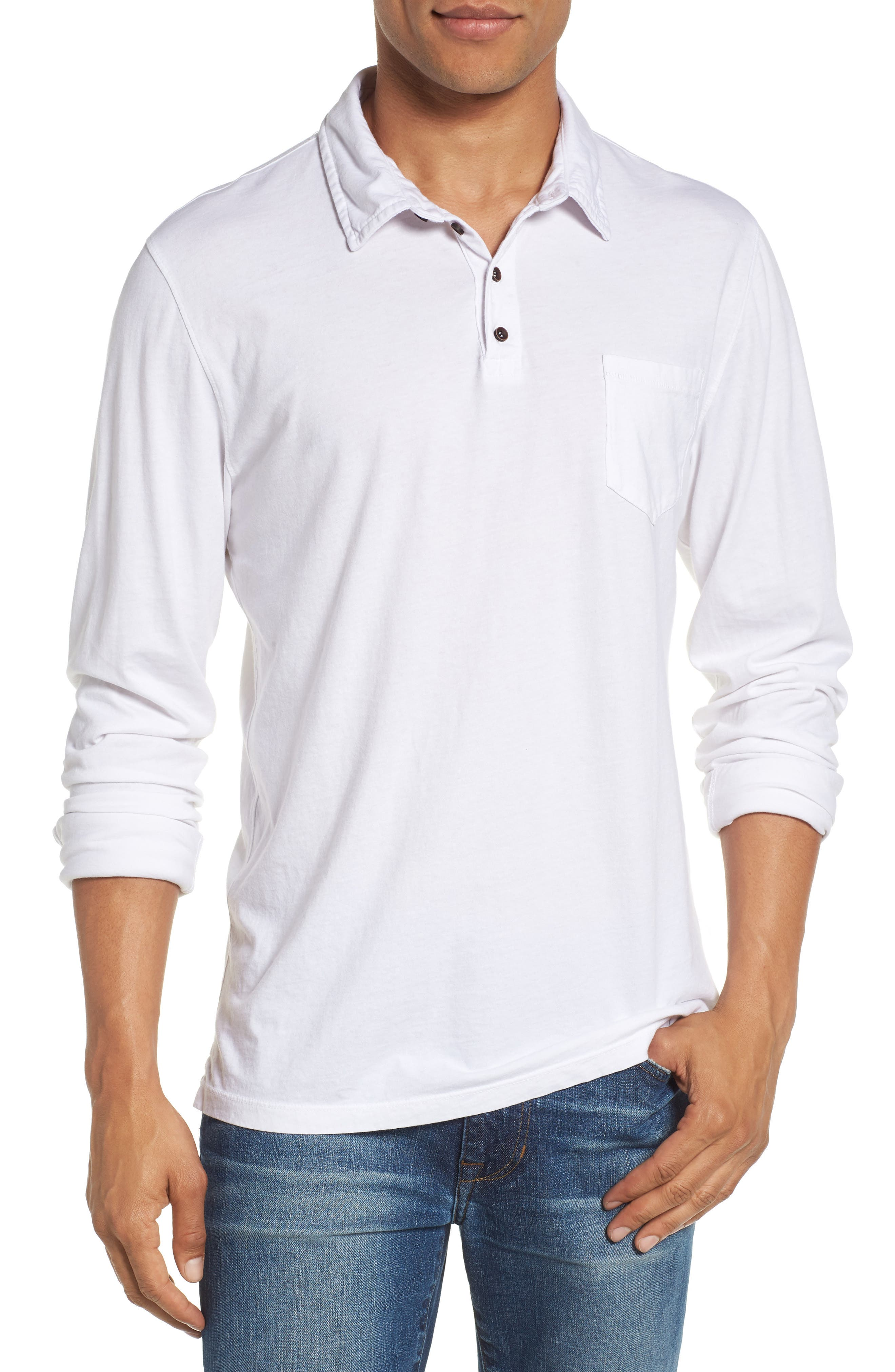 Long Sleeve Jersey Polo,                         Main,                         color, White