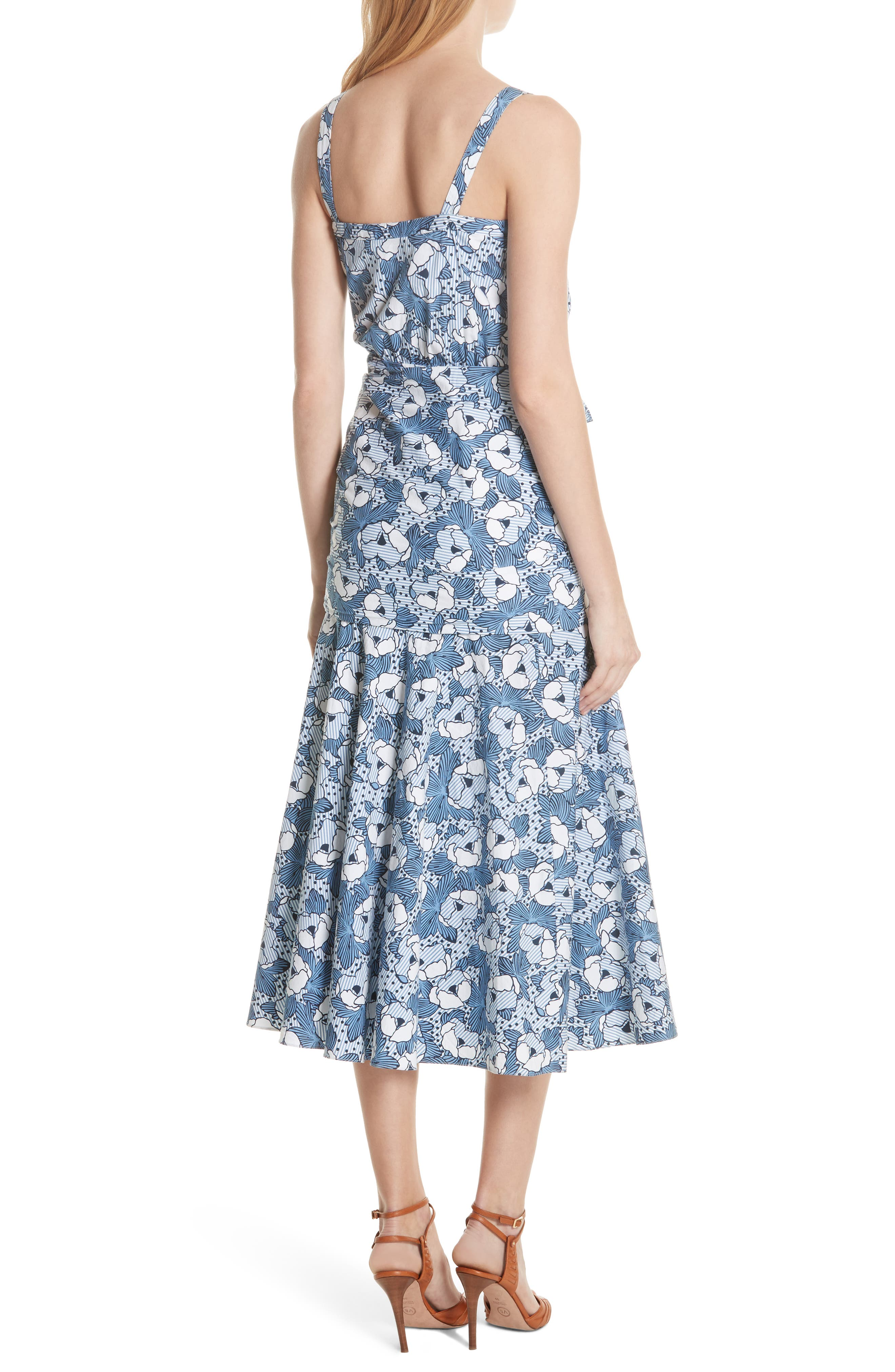 Marena Ruched Waist Floral Midi Dress,                             Alternate thumbnail 2, color,                             Blue/ White