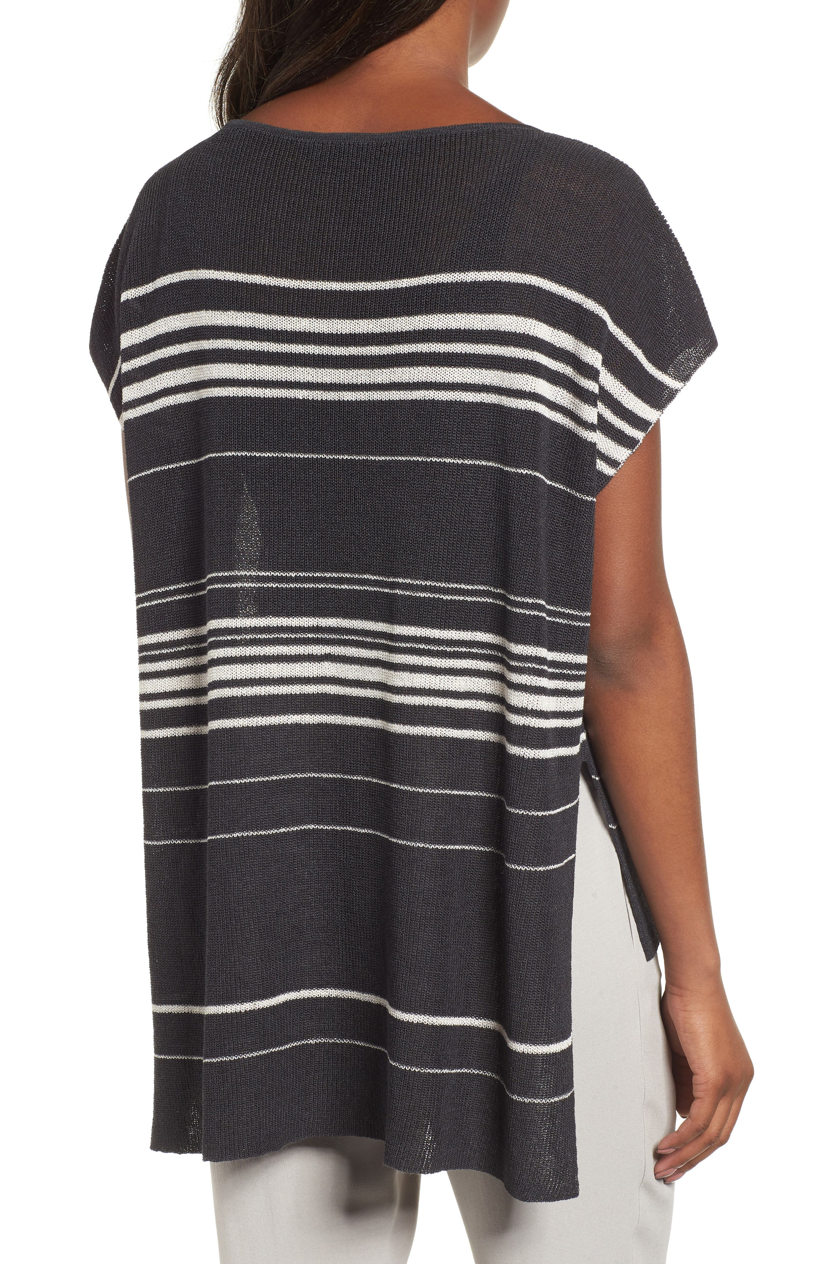 Organic Linen Blend Poncho Sweater,                             Alternate thumbnail 2, color,                             Graphite/ Bone