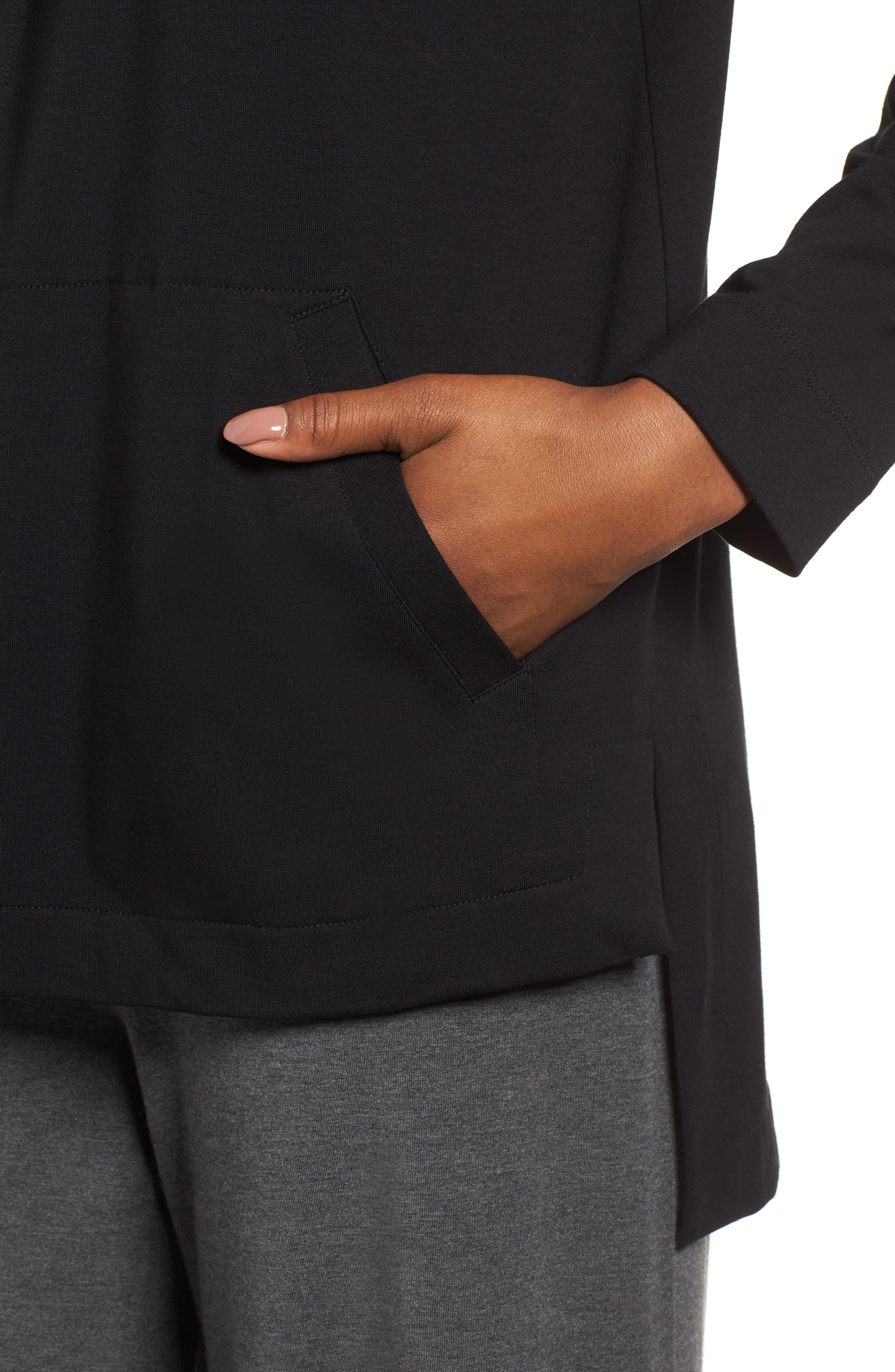 Stretch Organic Cotton Hooded Cardigan,                             Alternate thumbnail 4, color,                             Black