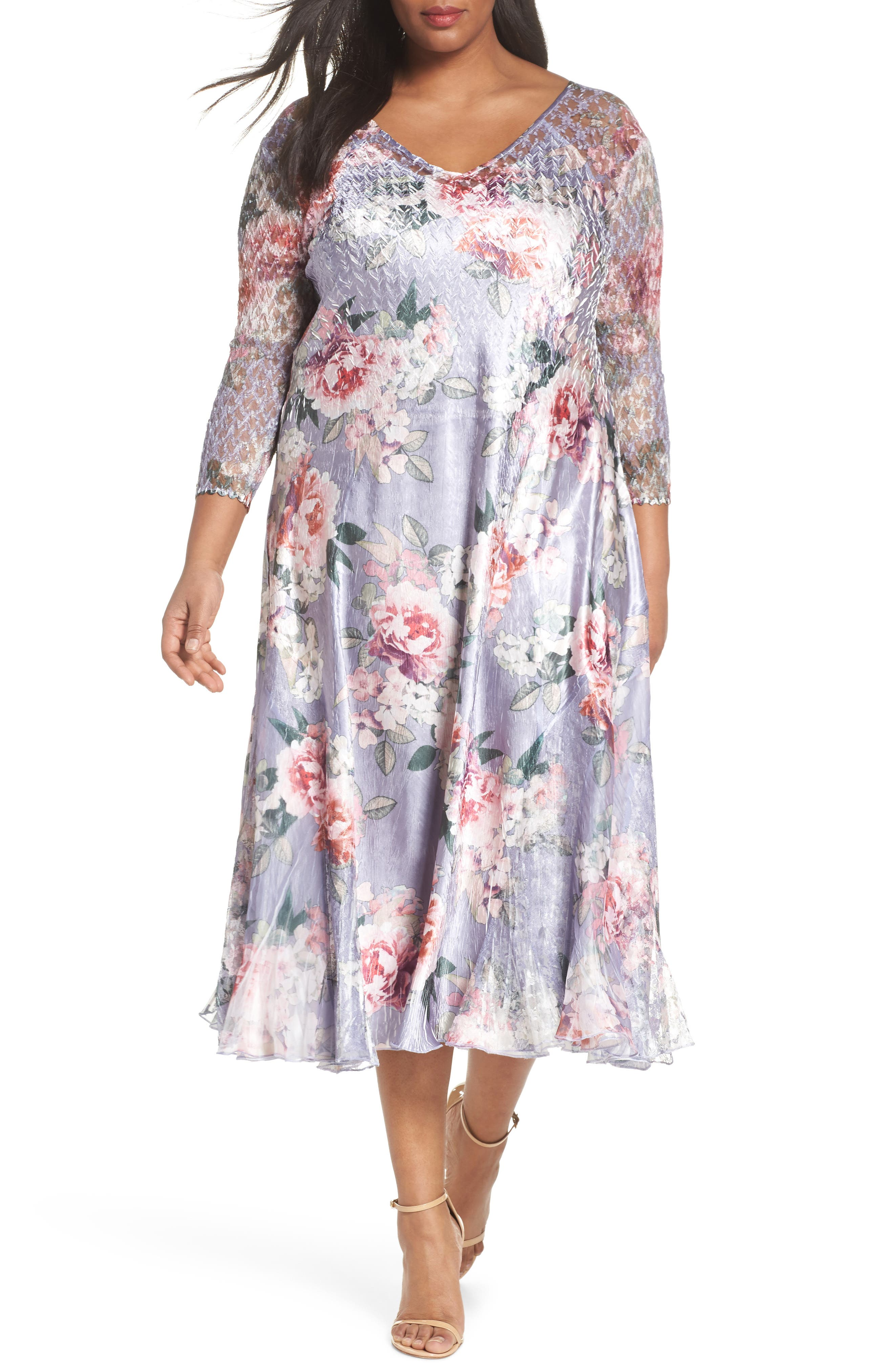 Komarov Charmeuse A-Line Dress (Plus Size)