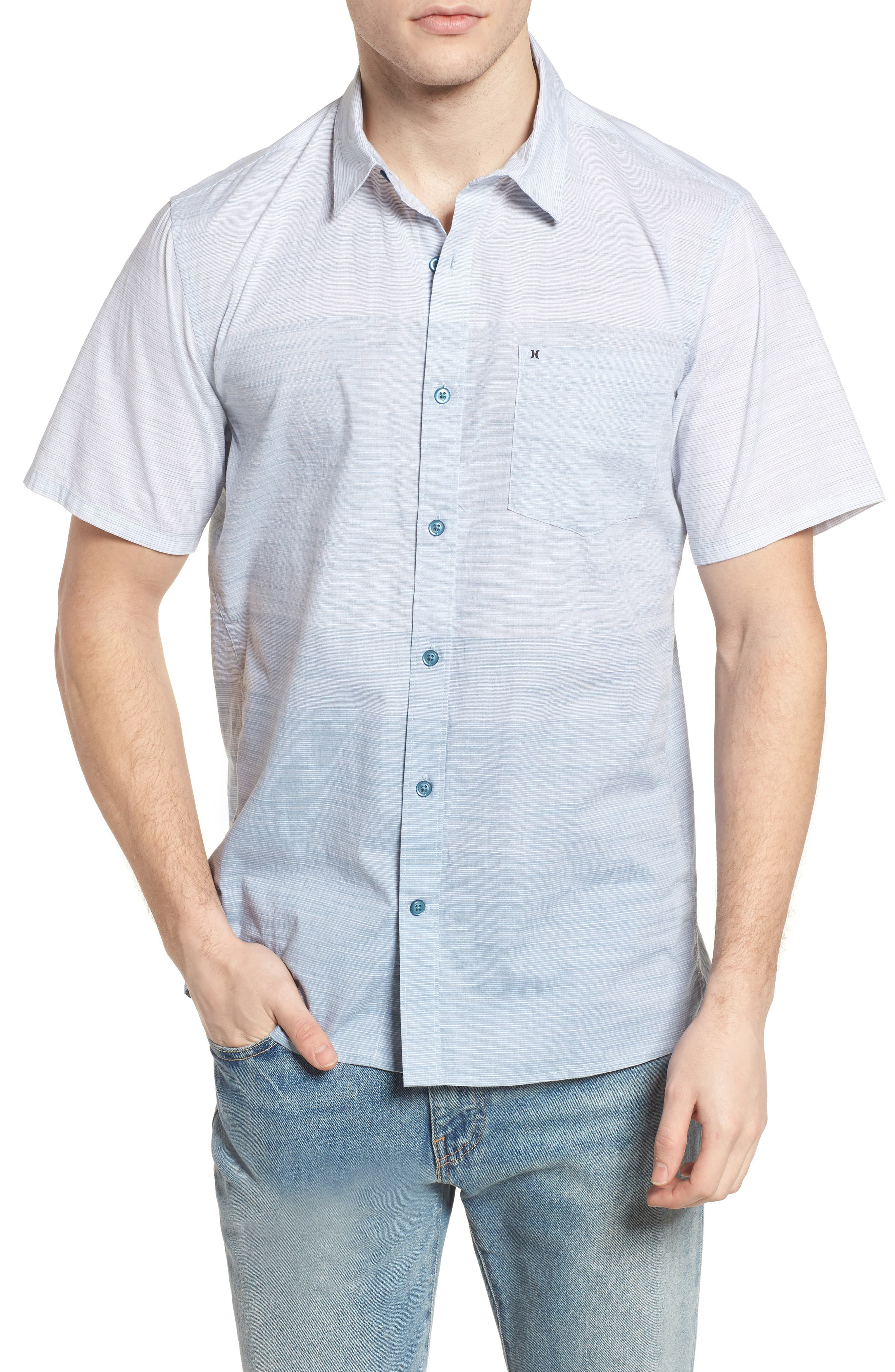 Hudson Woven Shirt,                         Main,                         color, Noise Aqua