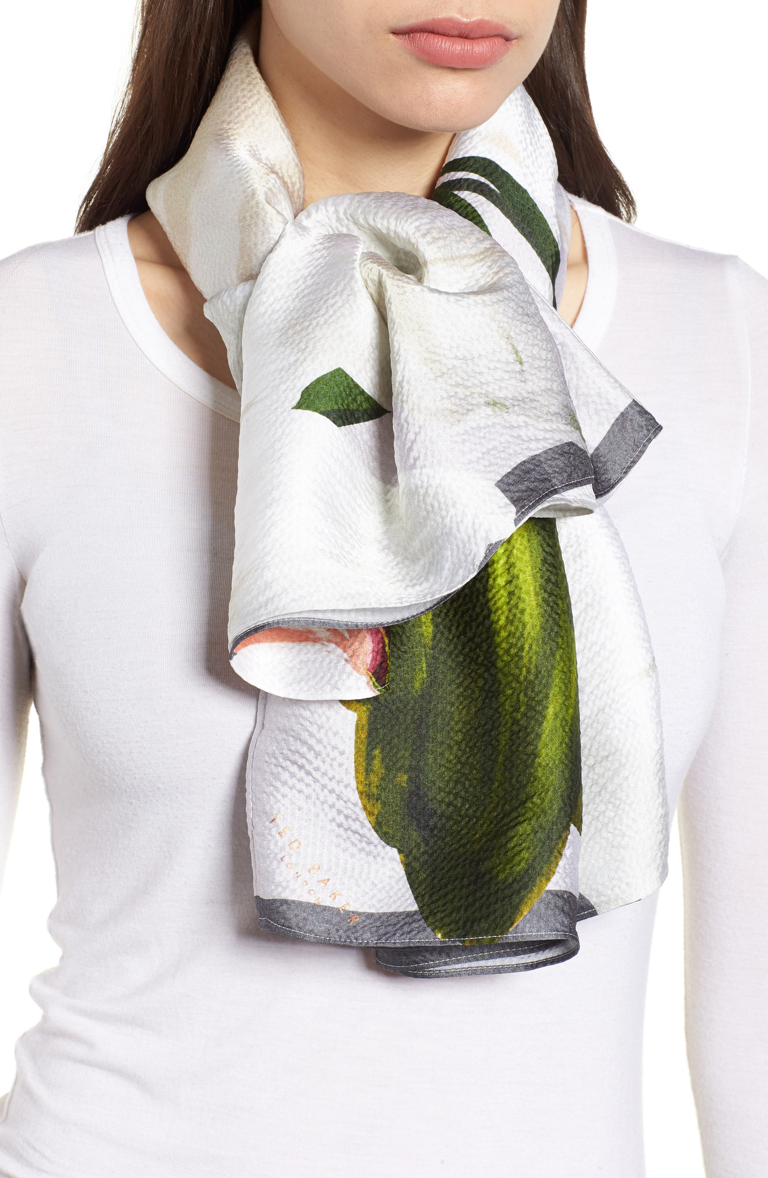 Chatsworth Bloom Silk Cape Scarf,                             Alternate thumbnail 5, color,                             Mid Grey