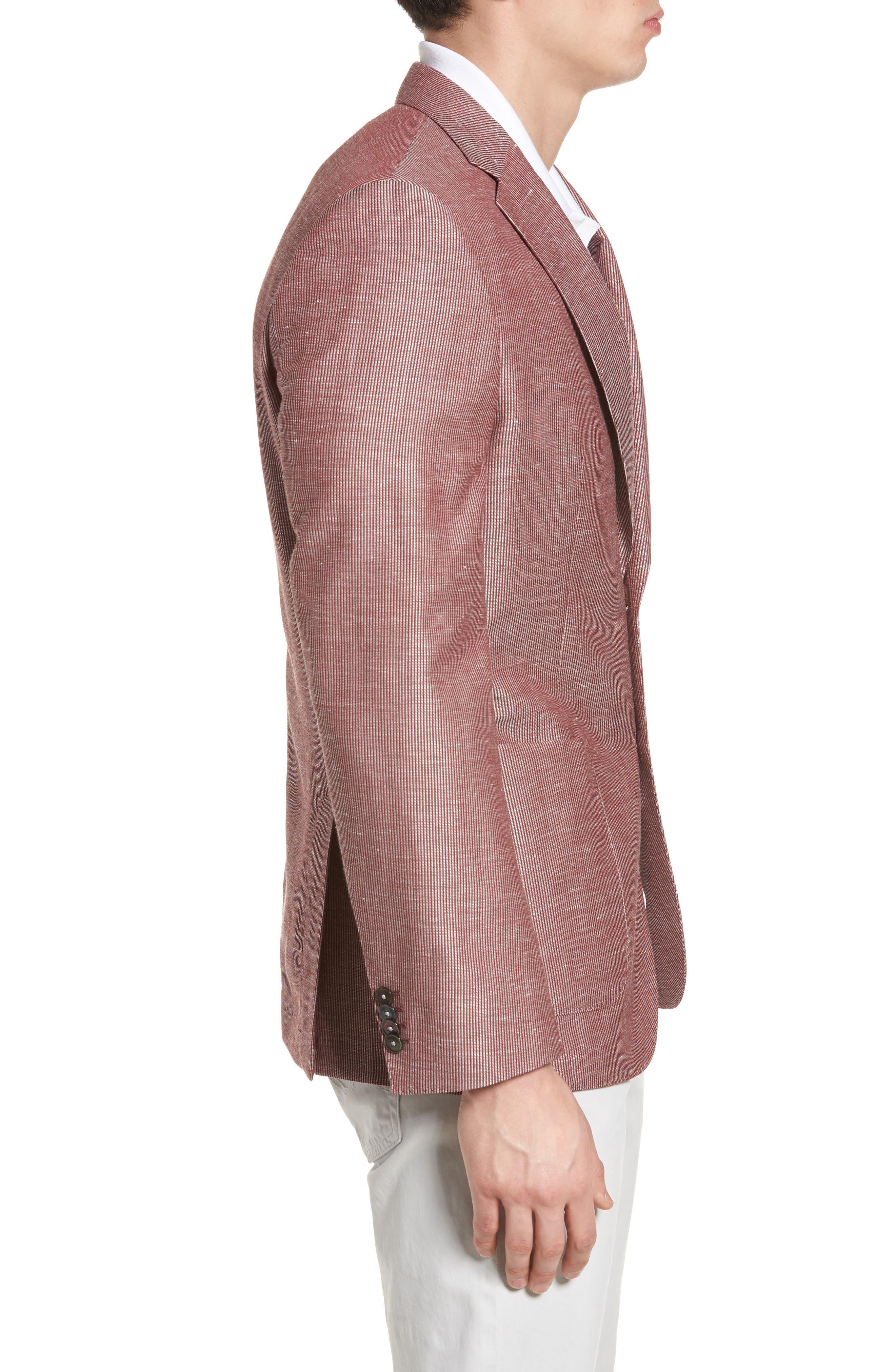 Janson Classic Fit Stripe Wool Blend Sport Coat,                             Alternate thumbnail 3, color,                             Red