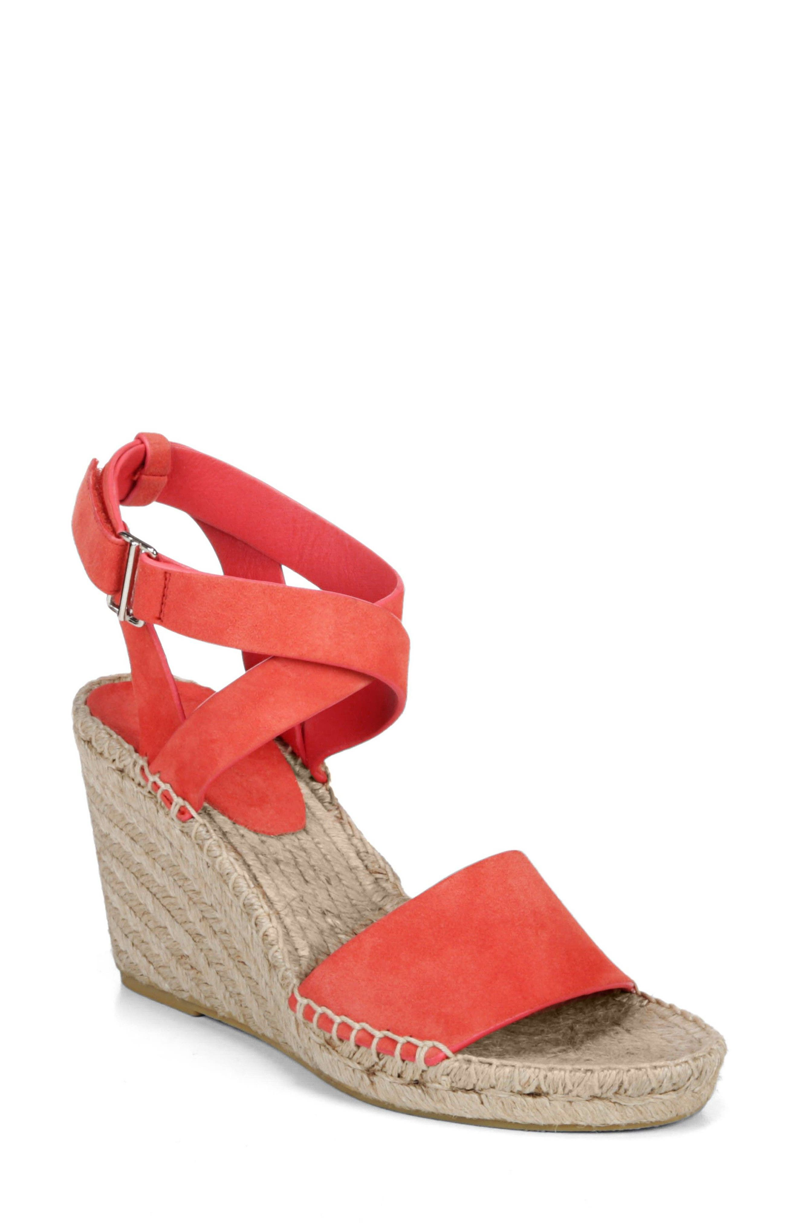 Nevada Espadrille Wedge Sandal,                             Main thumbnail 1, color,                             Poppy Red Suede