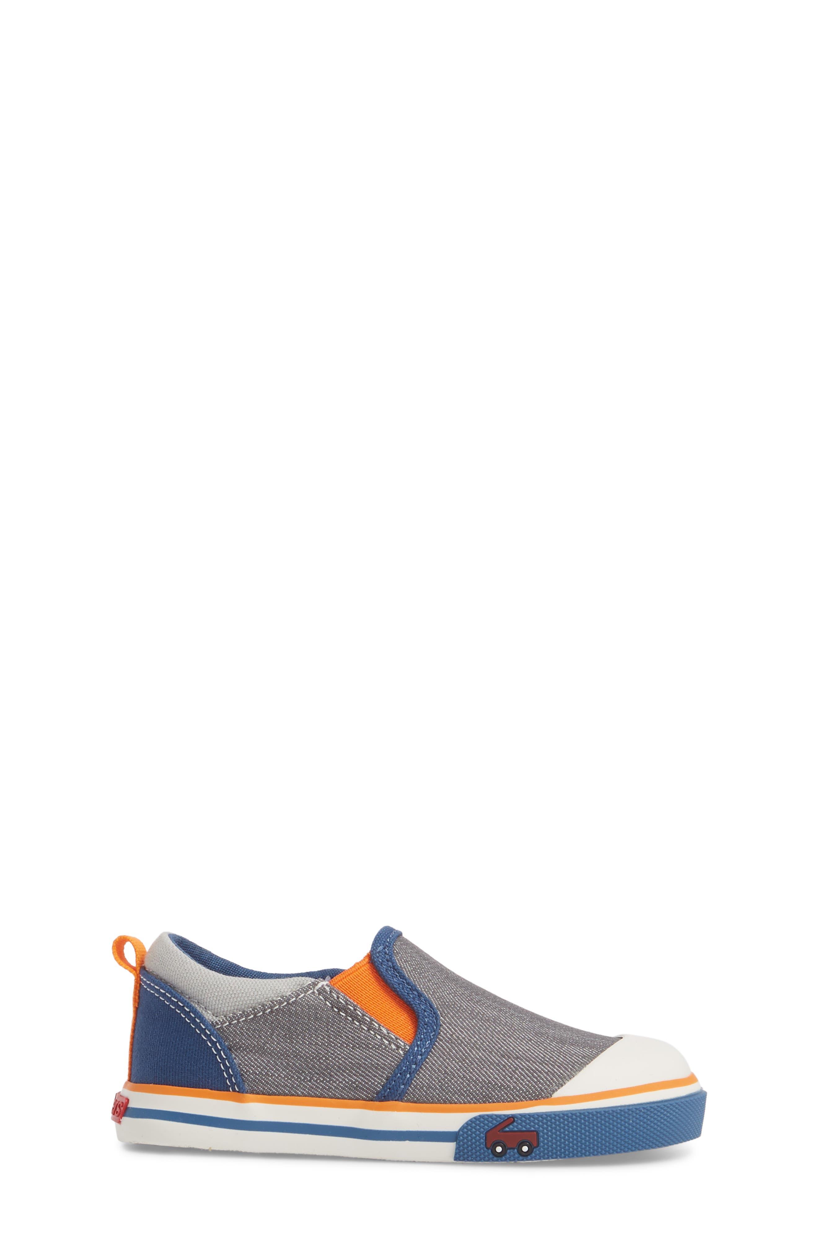 Slater Colorblock Slip-On Sneaker,                             Alternate thumbnail 3, color,                             Gray/ Blue