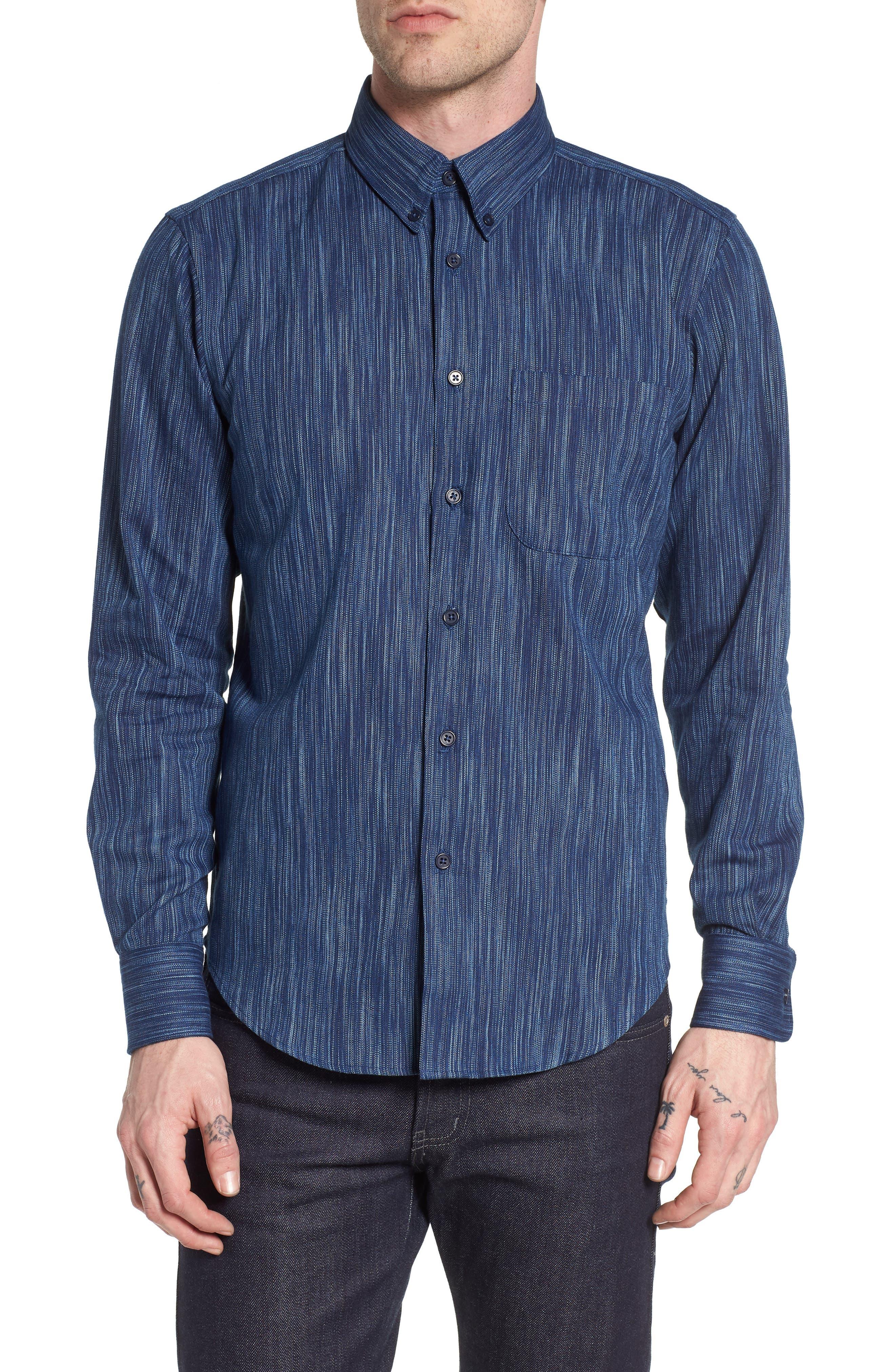 Indigo Tie Dye Rain Weave Shirt,                         Main,                         color, Blue