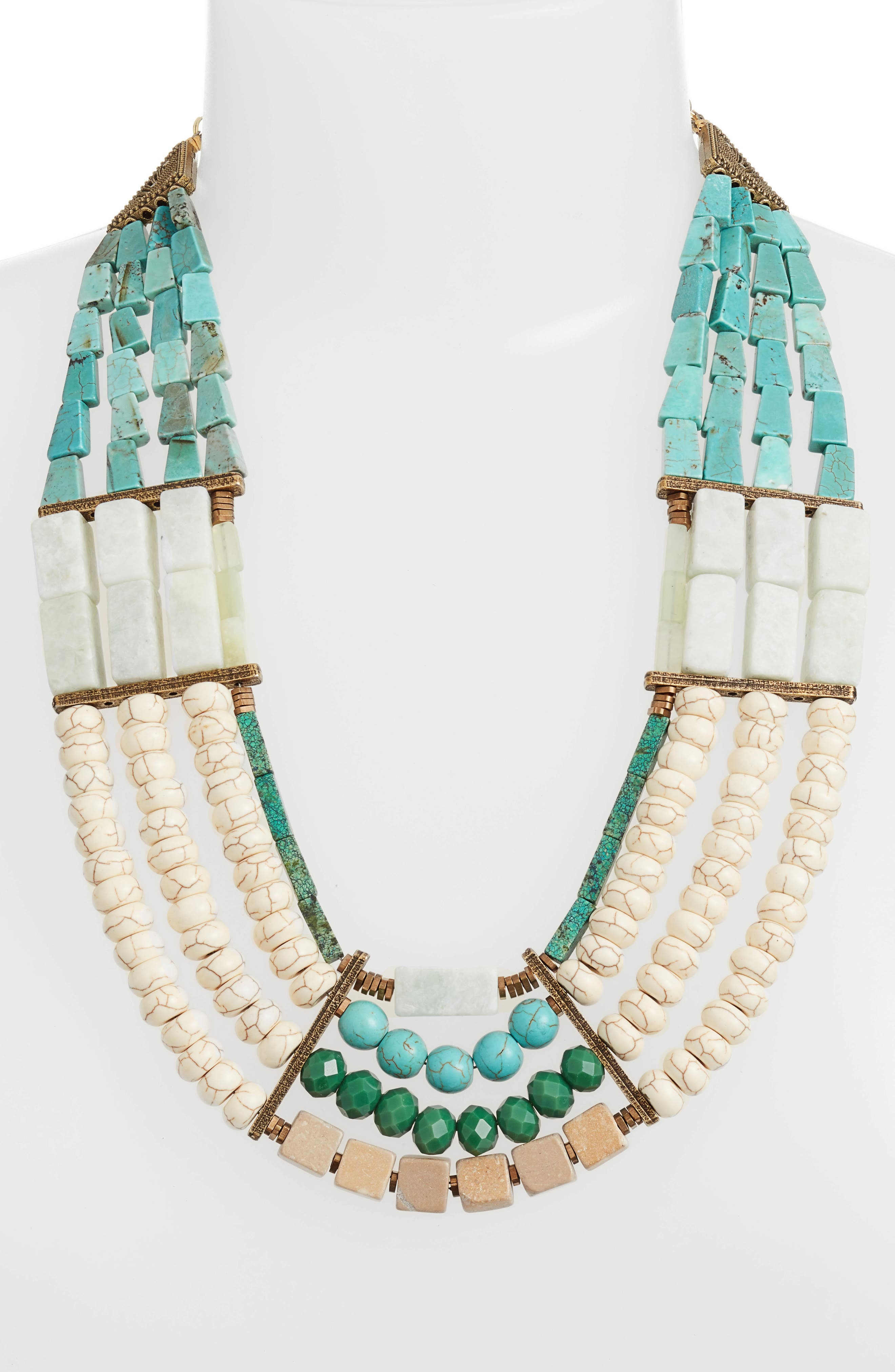 Priscilla 4-Row Statement Necklace,                             Alternate thumbnail 2, color,                             Turquoise