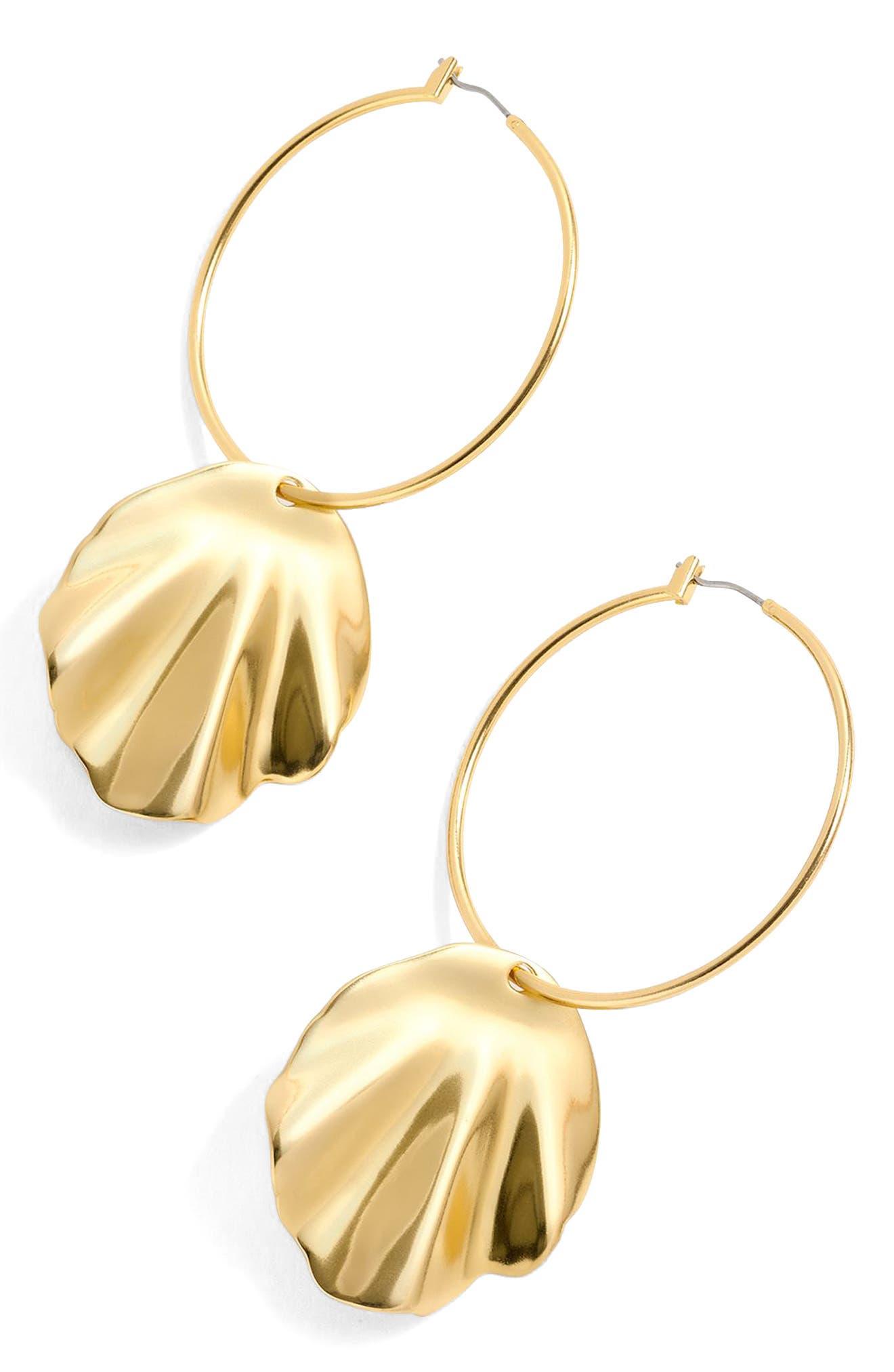 Shell Hoop Earrings,                             Main thumbnail 1, color,                             Gold