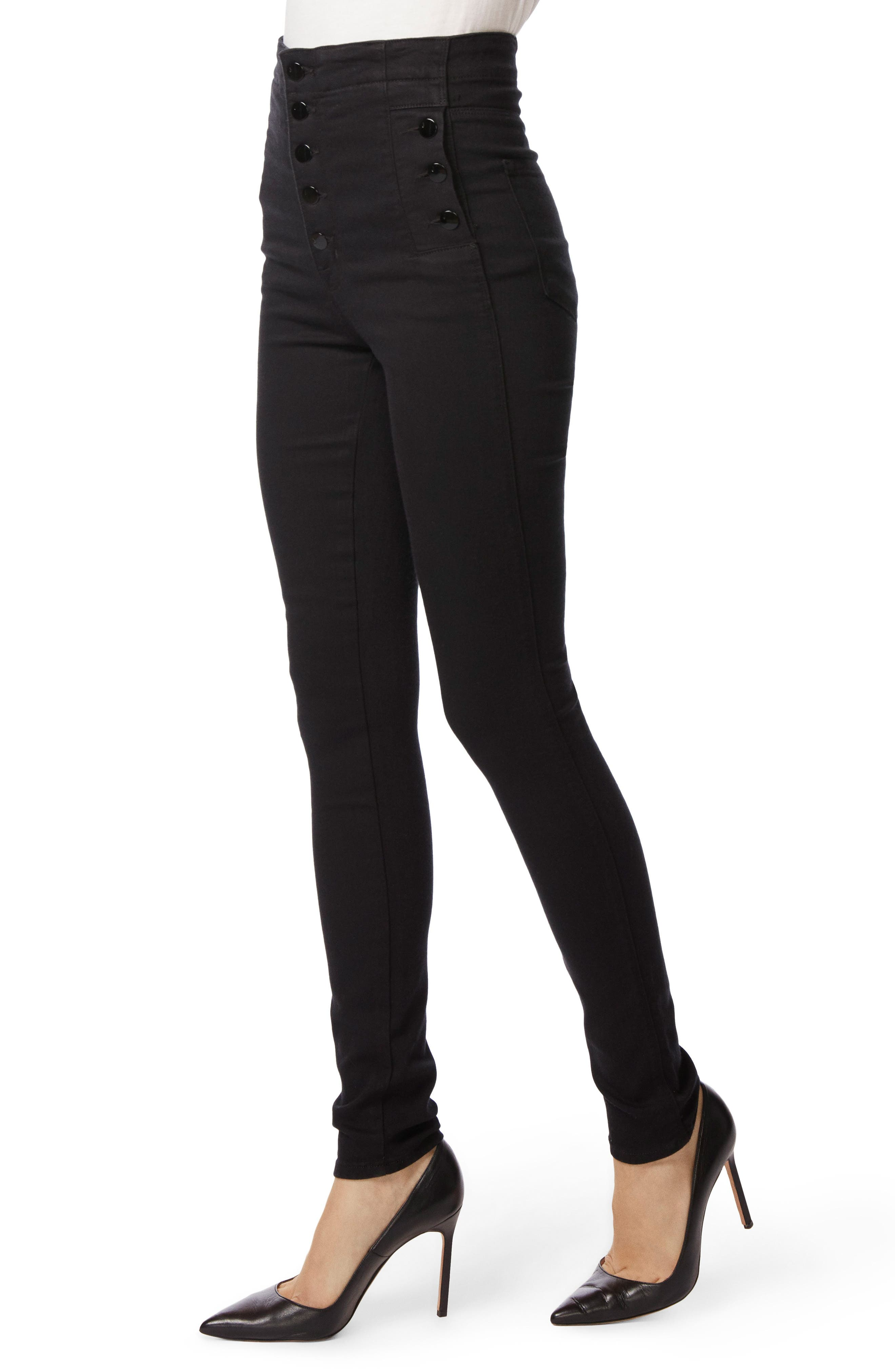 Natasha Sky High High Waist Super Skinny Jeans,                             Alternate thumbnail 4, color,                             Seriously Black
