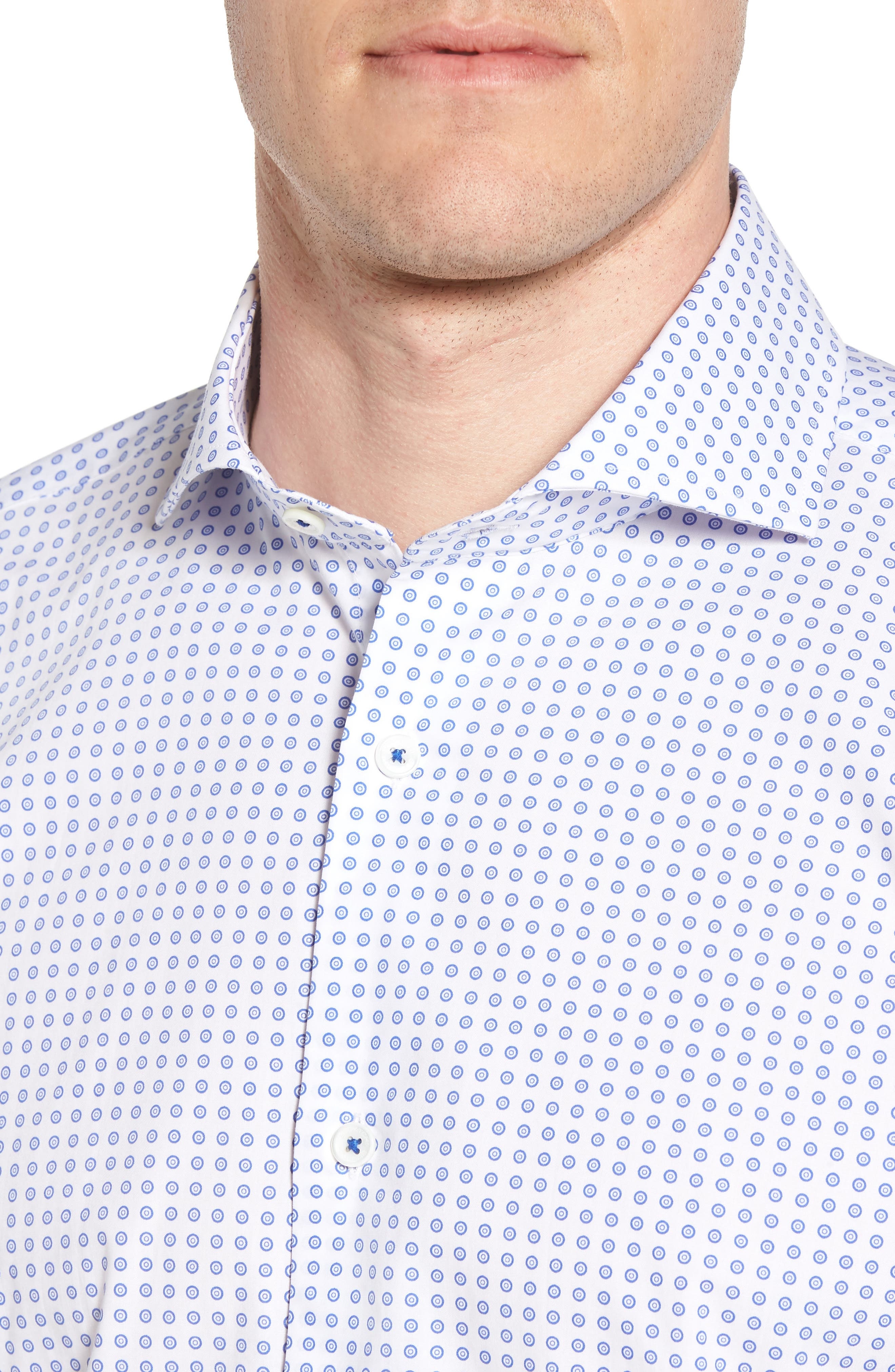 Trim Fit Dot Dress Shirt,                             Alternate thumbnail 2, color,                             Classic Blue