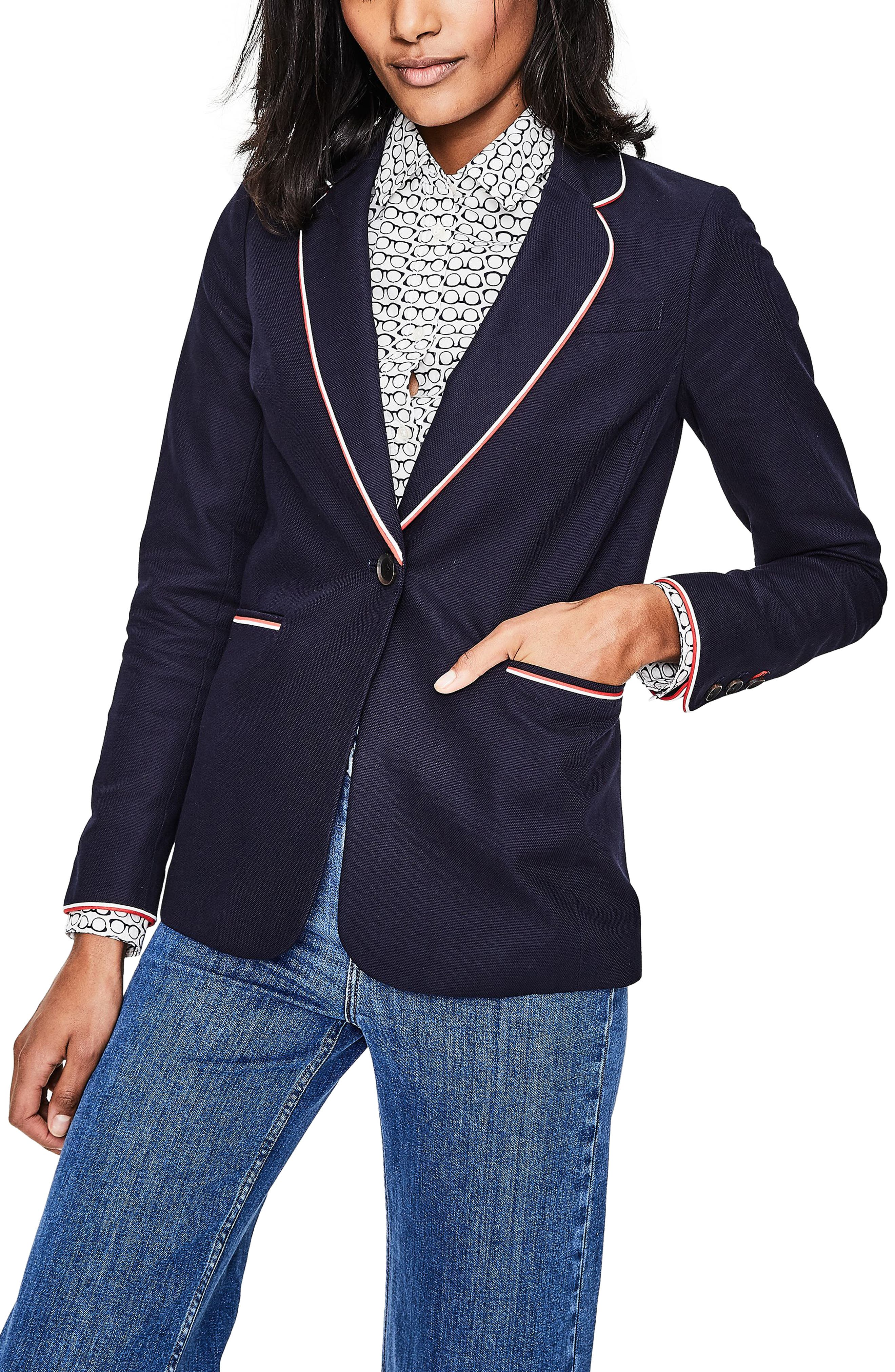 Boden Tipped Cotton Blazer